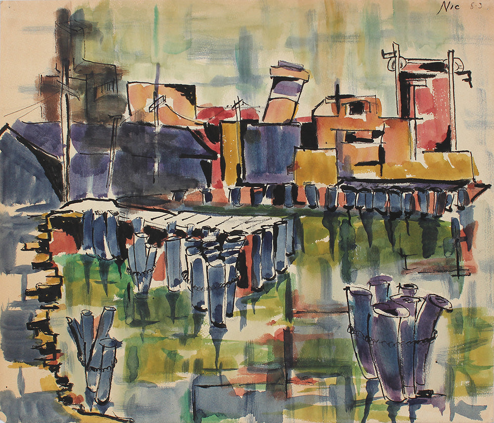 Jumbled Watercolor Cityscape <br>1983 Watercolor <br><br>#A3880