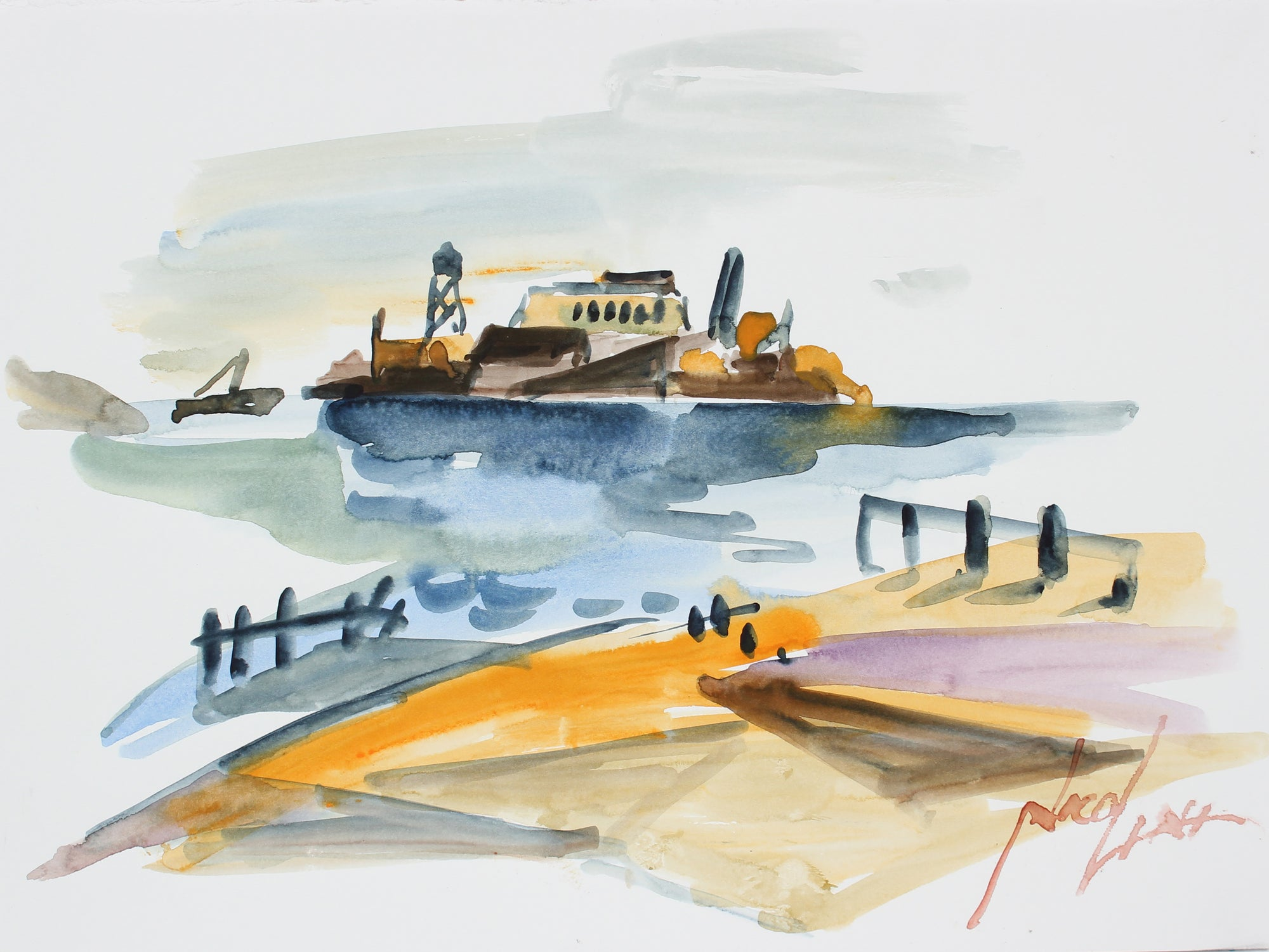 <i>Alcatraz</i><br>Late 20th Century Watercolor<br><br>#A3890