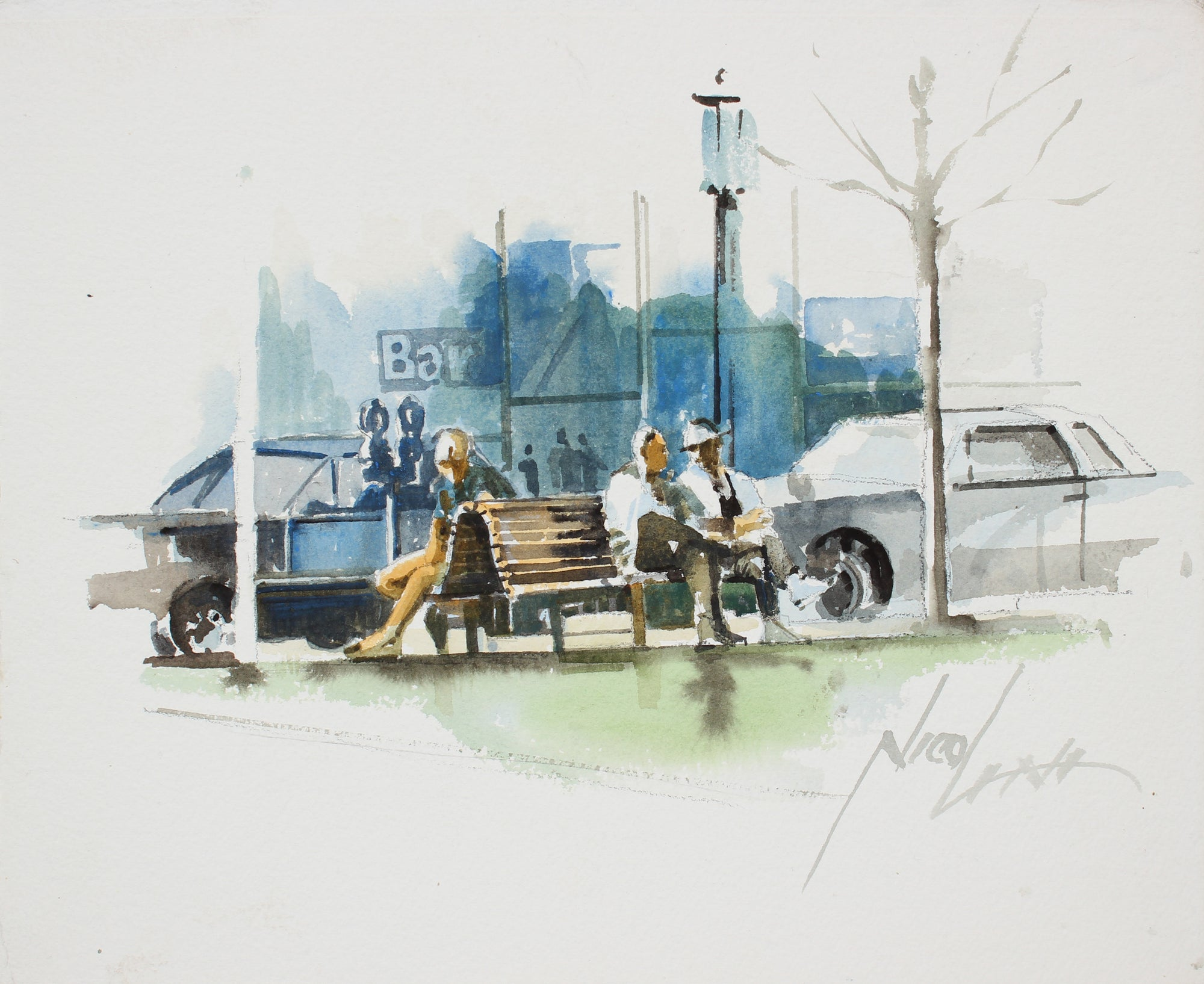 <i>Jefferson Park, Oakland</i> <br>20th Century Watercolor <br><br>#A3891