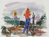 Tourists in the Abstract <br>20th Century Watercolor <br><br>#A3894
