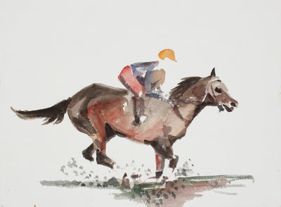 Jockey & Horse in Motion <br>20th Century Watercolor <br><br>#A3899
