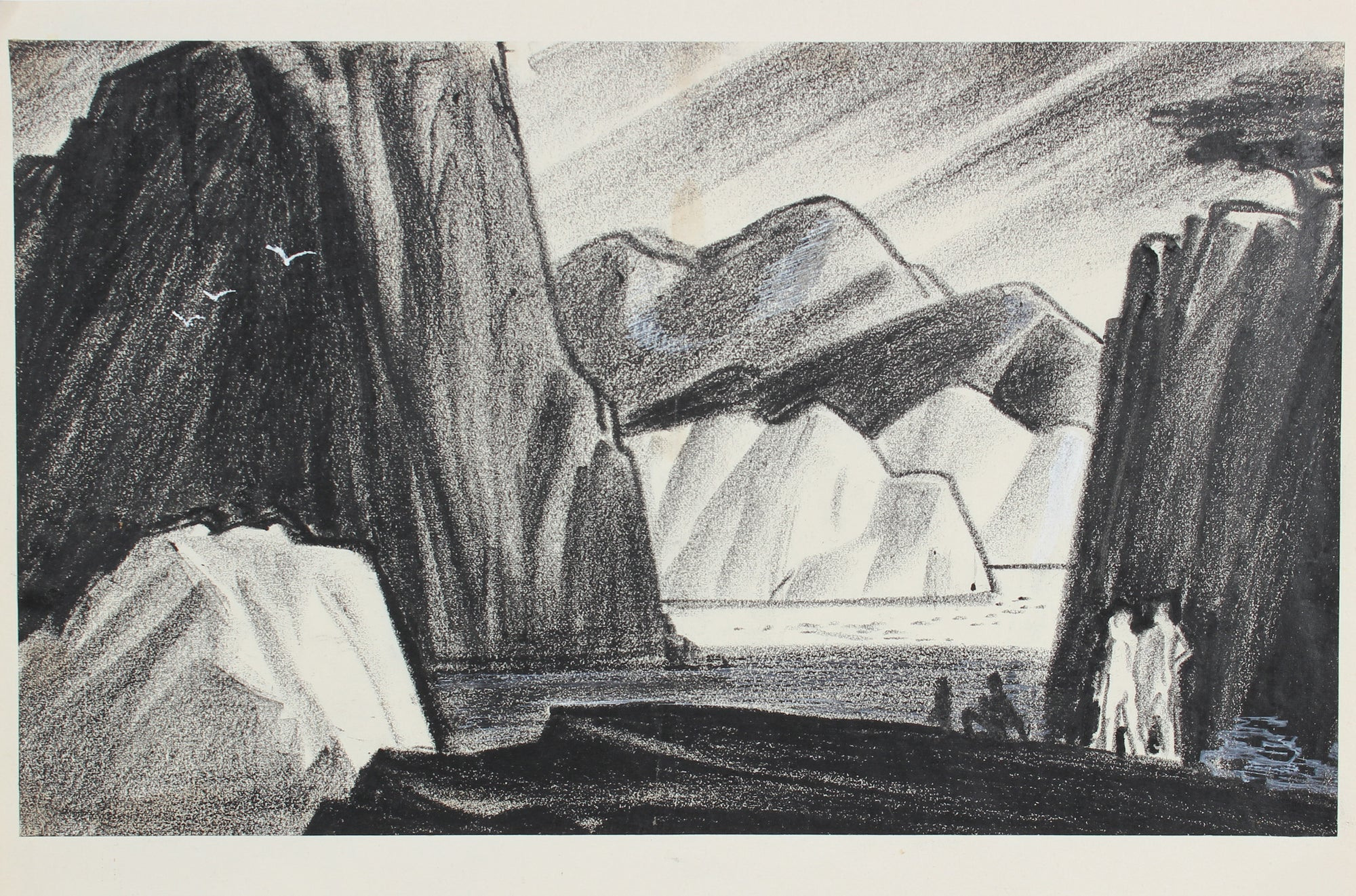 Moody Monochromatic Mountains <br>1938-40 Pastel & Gouache<br><br>#9555