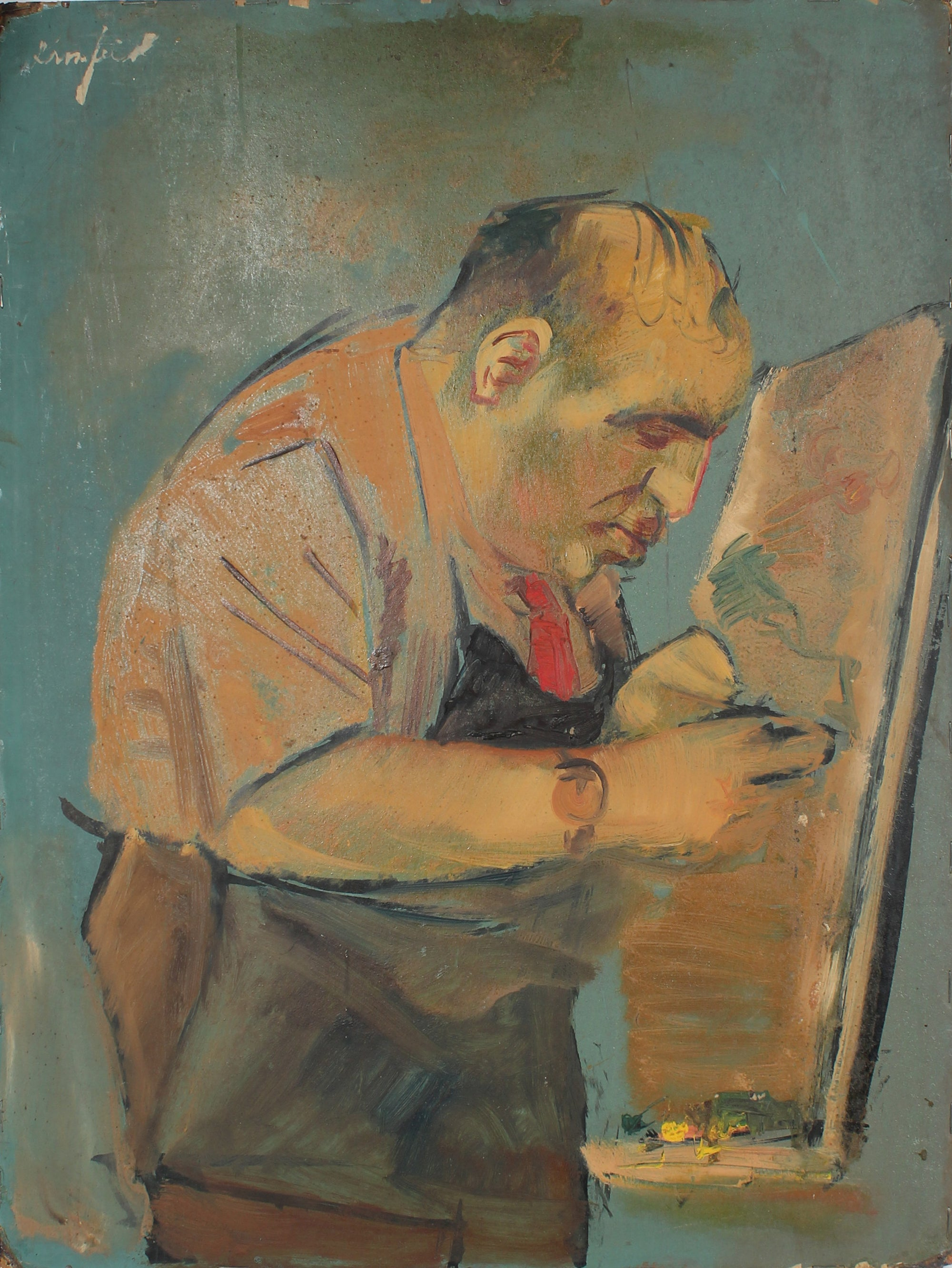 Portrait of an Artist at His Easel <br>20th Century Oil <br><br>#A4003