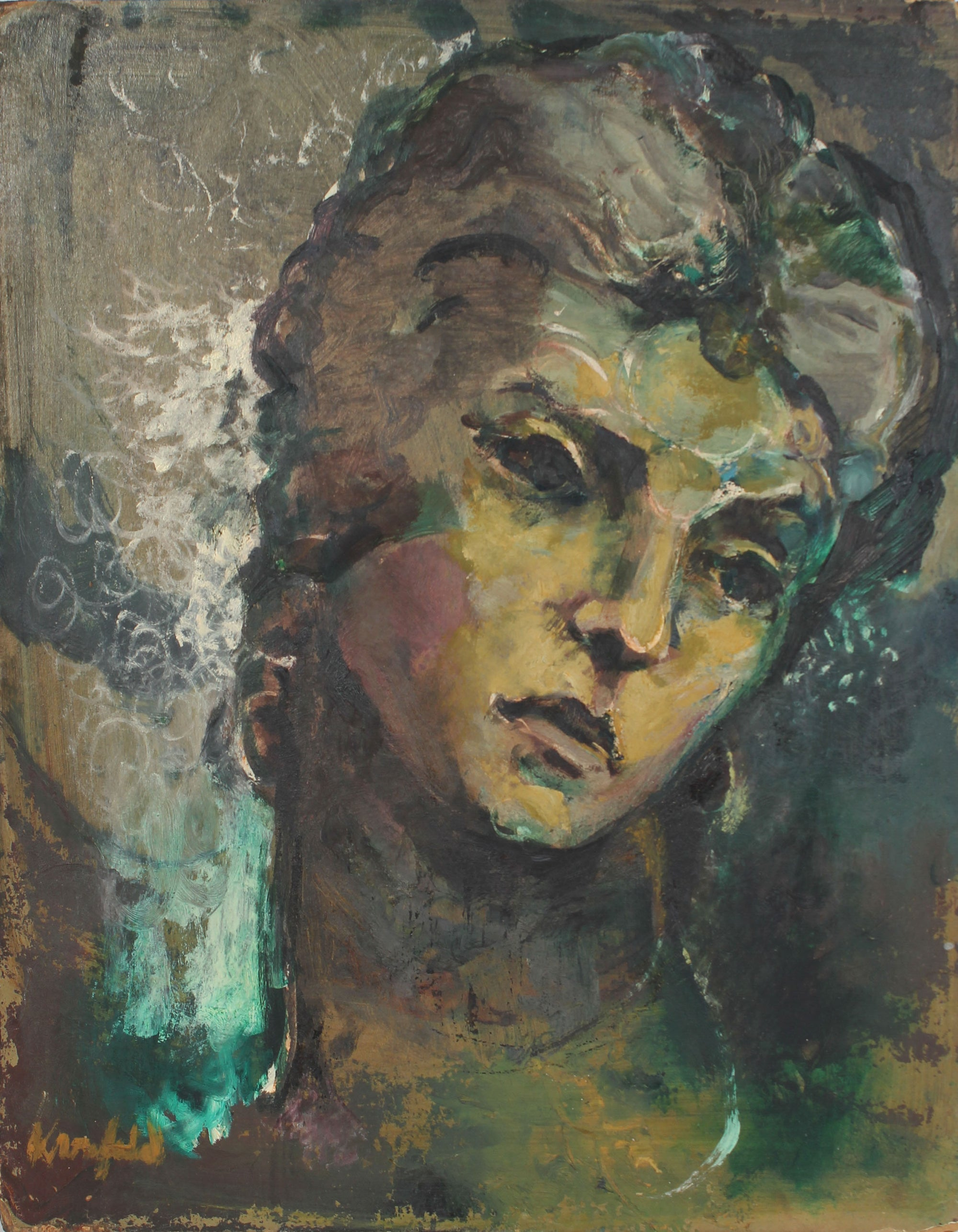 Modernist Female Portrait<br>Mid-Late 20th Century Oil<br><br>#A4004