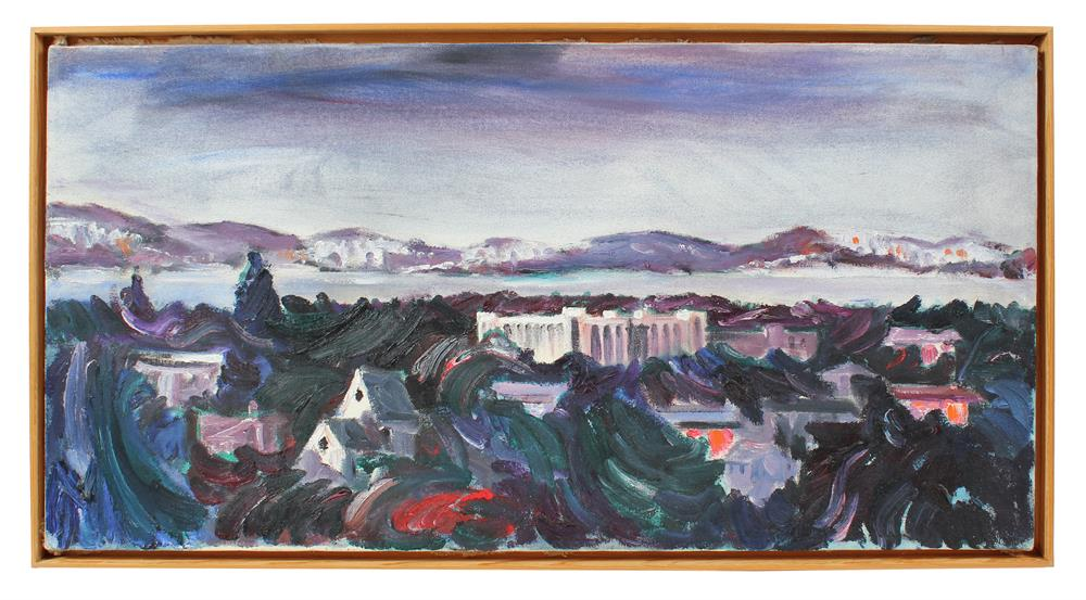 Expressive East Bay Landscape<br>Mid-Late 20th Century Oil<br><br>#A4066