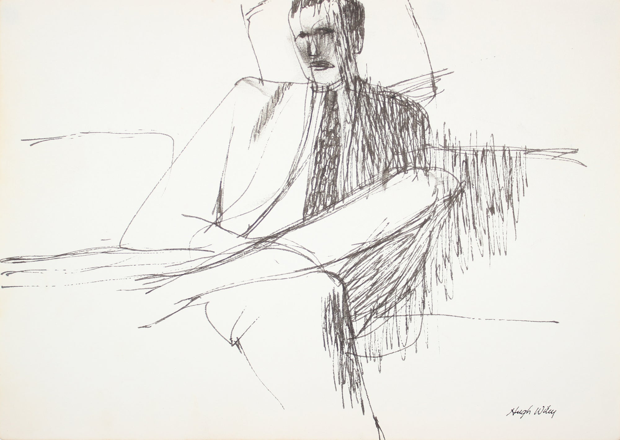 Seated Man in a Suit <br>Late 1950s Ink <br><br>#A4205