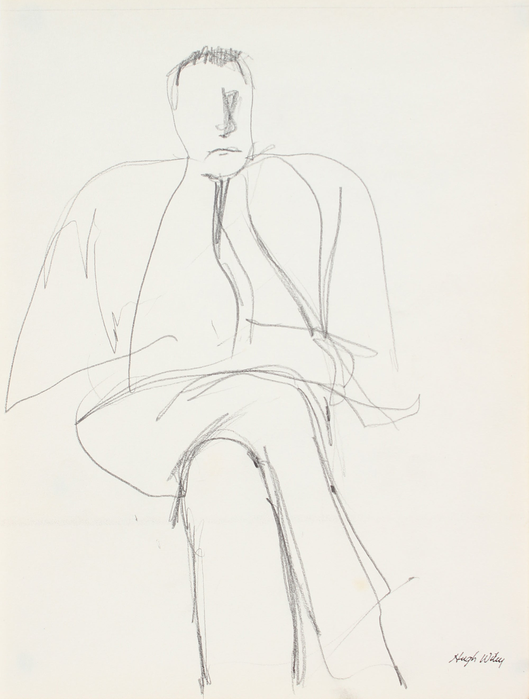 Seated Male - Sketch <br>Late 1950s Graphite<br><br>#A4266