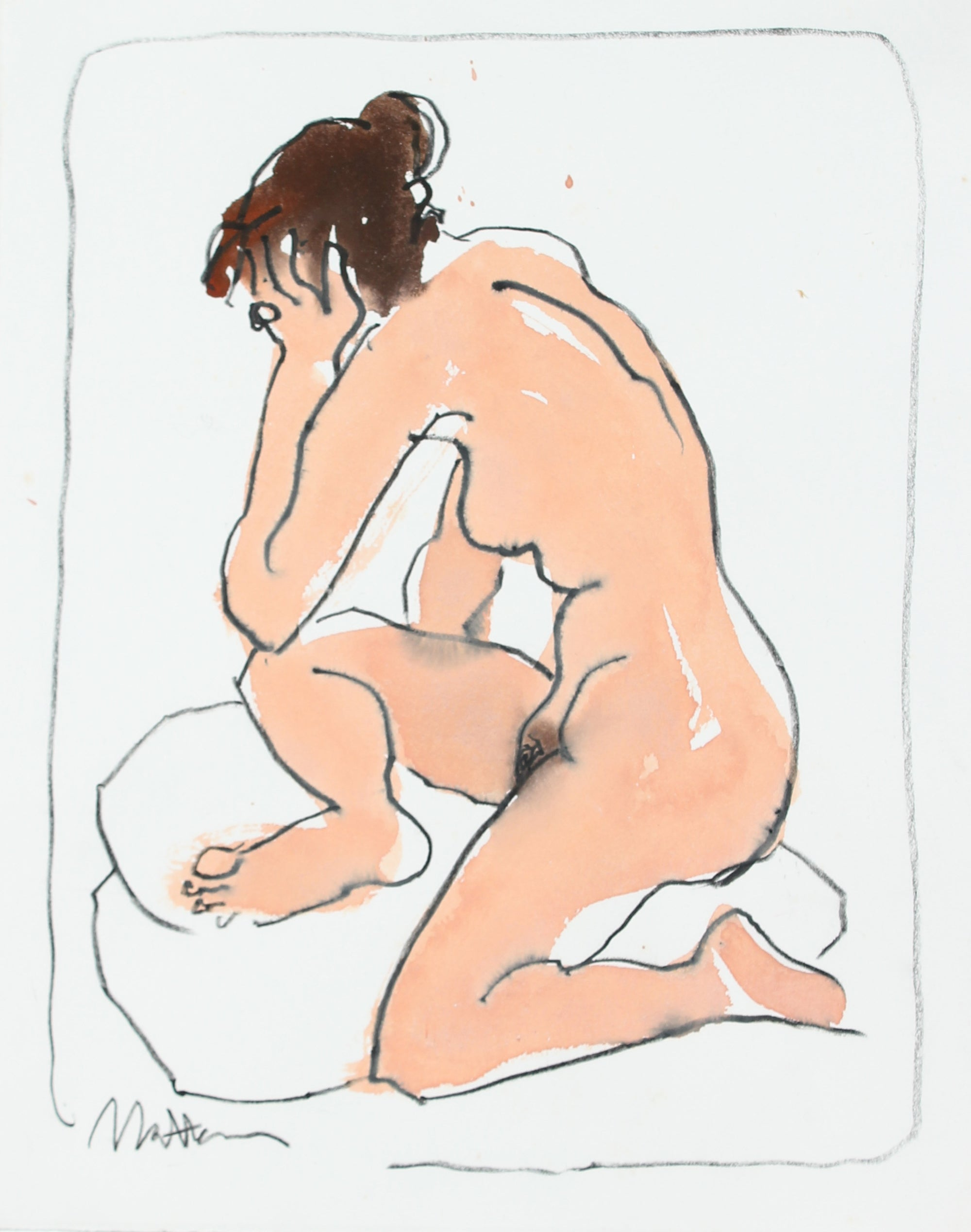 Female Nude In Repose Study <br>20th Century Charcoal & Ink Wash <br><br>#29255