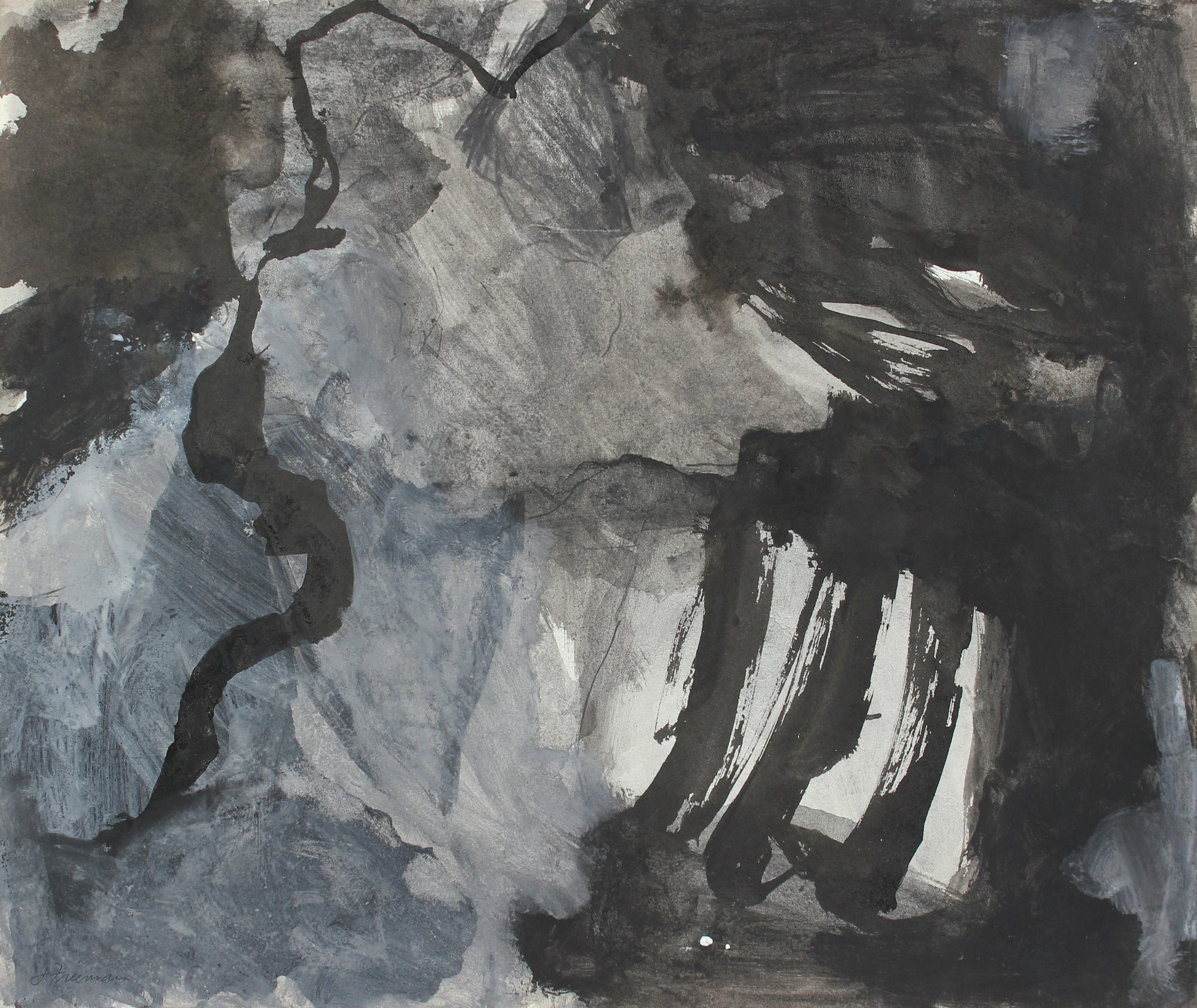 Monochromatic Expressive Abstract <br>Gouache and Charcoal<br><br>#A5019