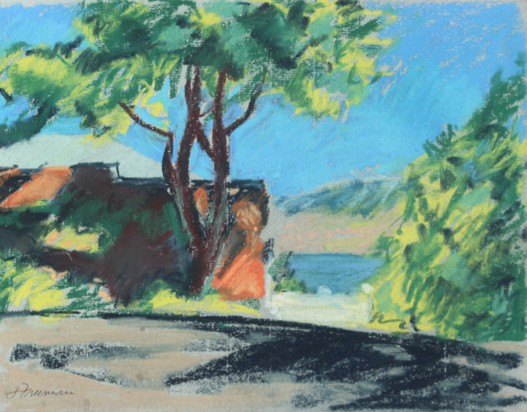 Abstracted Lake Cabin Scene <br>20th Century Pastel <br><br>#A5024