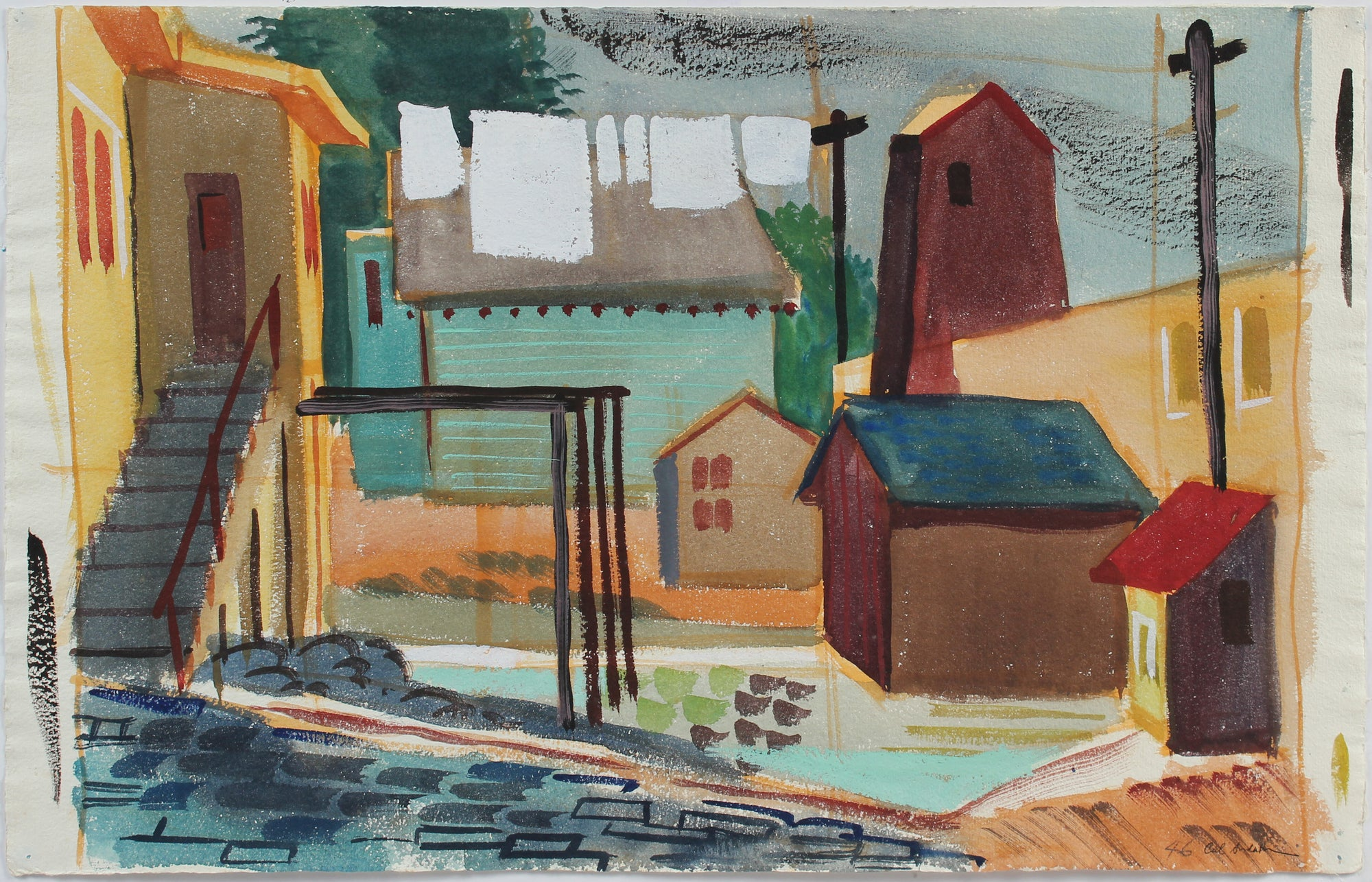 Quiet Backyard City Scene <br>1946 Watercolor <br><br>#A5351
