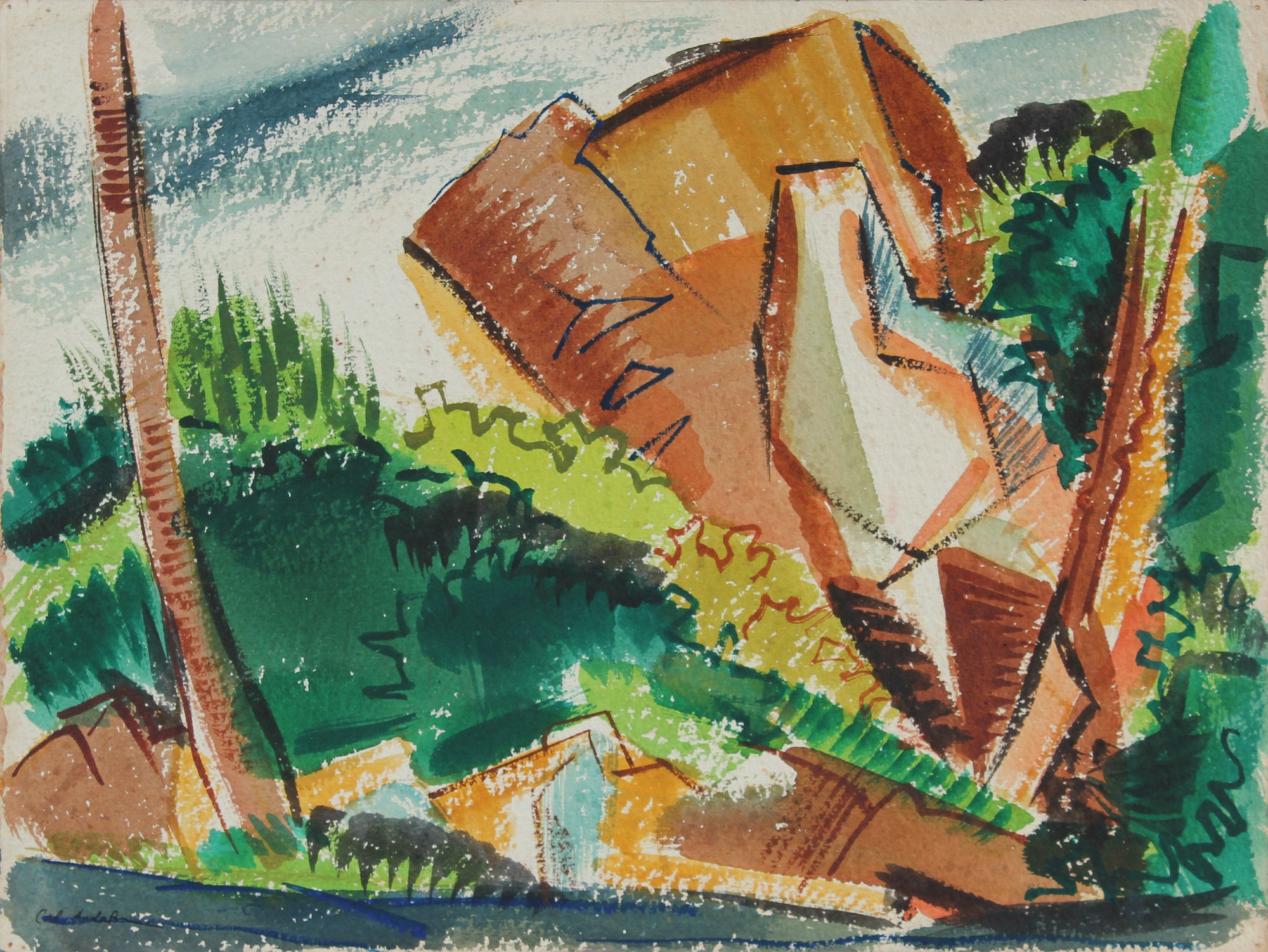 Abstracted Landscape <br>1945 Watercolor <br><br>#A5380