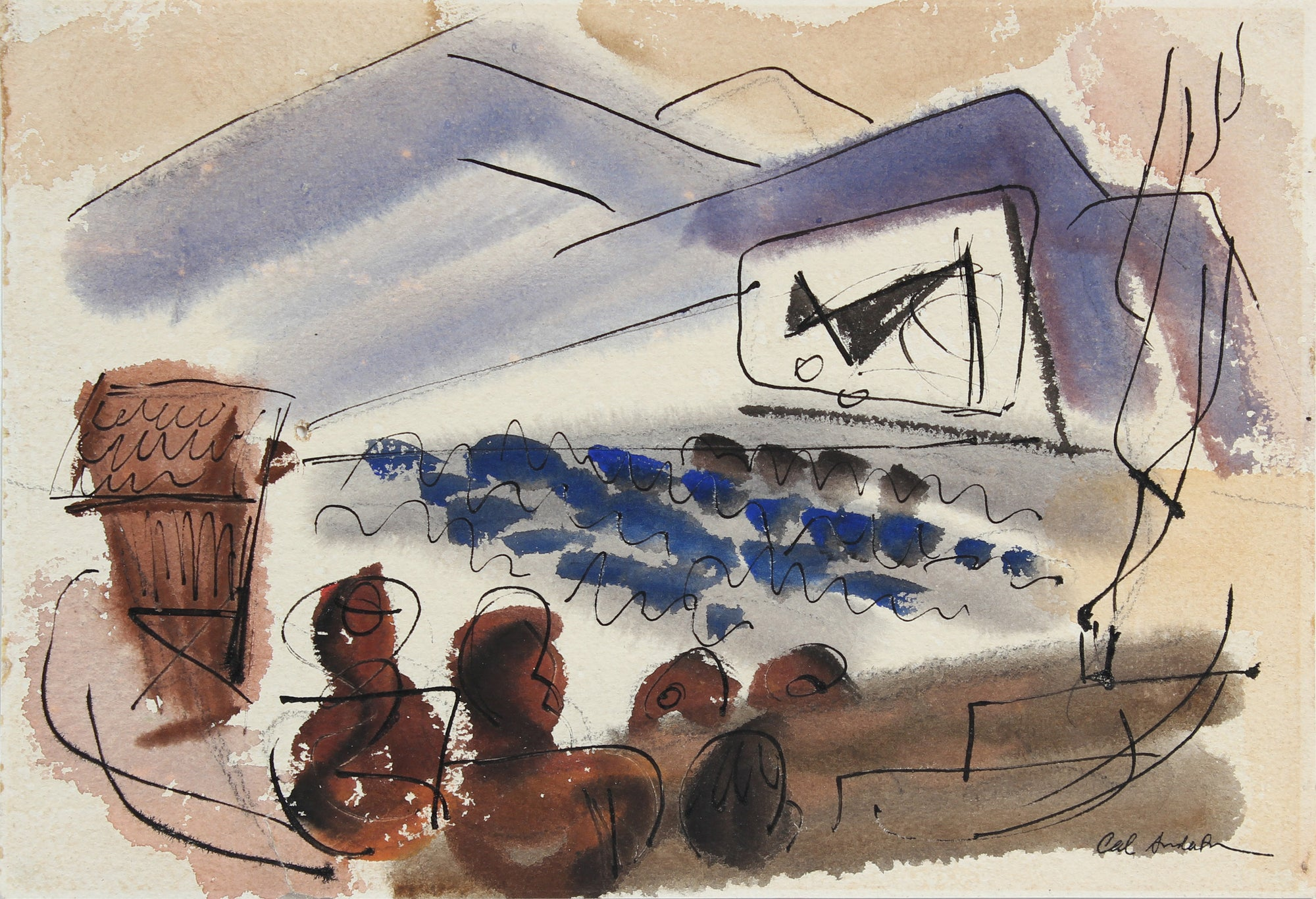 Theater Scene <br>1944 Watercolor<br><br>#A5410