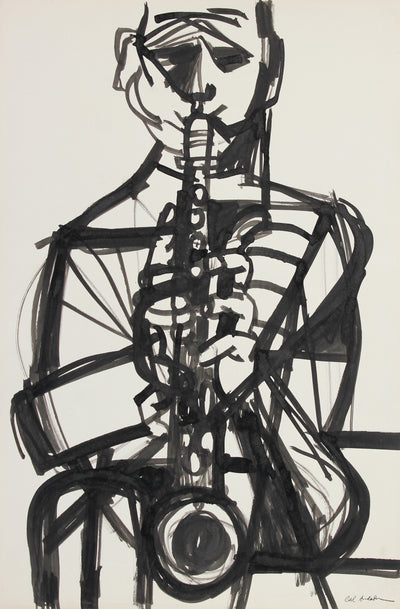 Bold Modernist Saxophone Player <br>Mid Century Ink<br><br>#A5414