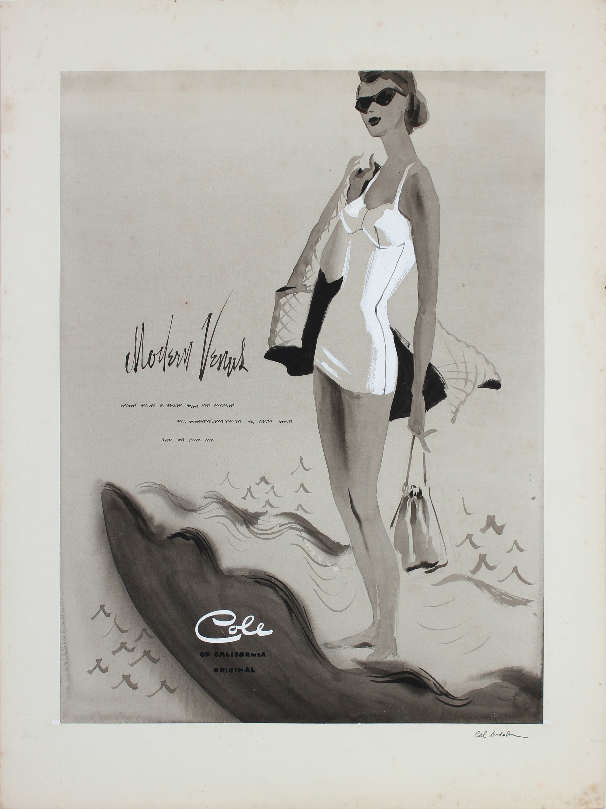 Swimmer Fashion Vintage Drawing <br>1950-60s Gouache <br><br>#A5418