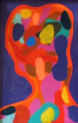 Vivid Abstracted Portrait<br>Mid Century Oil<br><br>#2225
