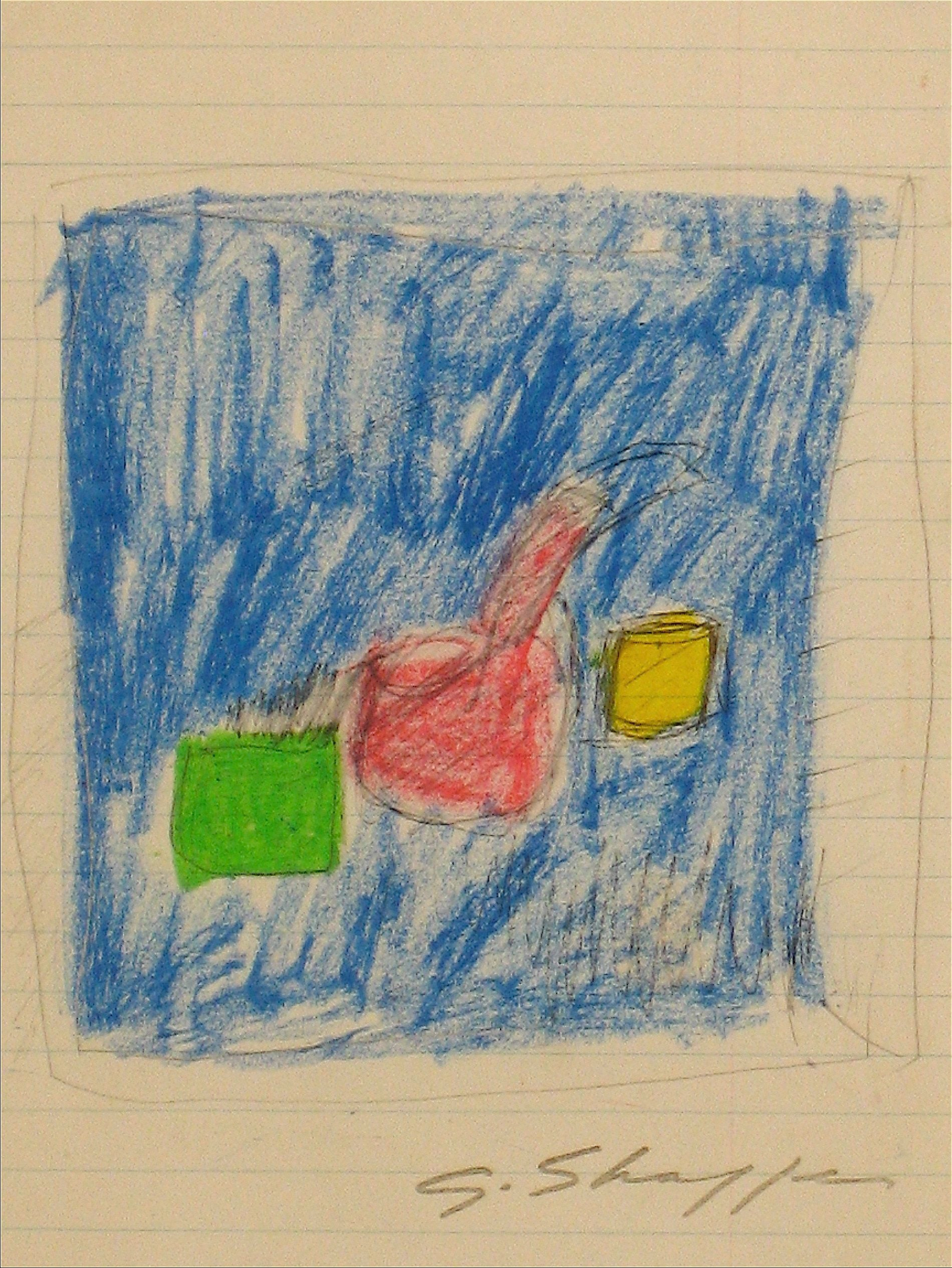 Abstracted Boxes in Yellow, Green & Blue <br>1958 Pastel <br><br>#8273