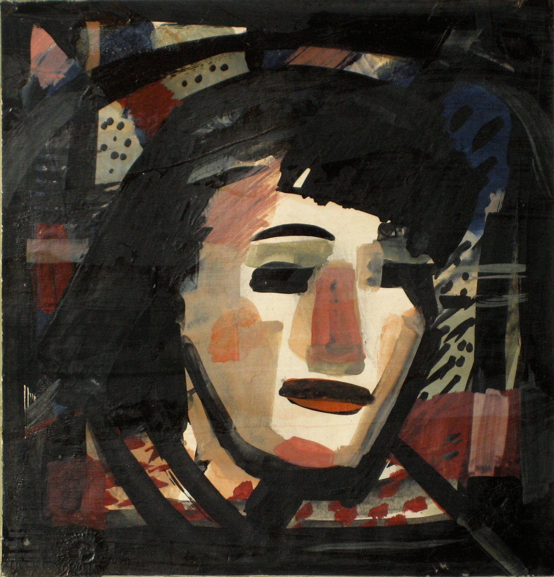 Abstracted Portrait Of A Woman<br>1930-60s, Tempera Paint on Paper<br><br>#13187
