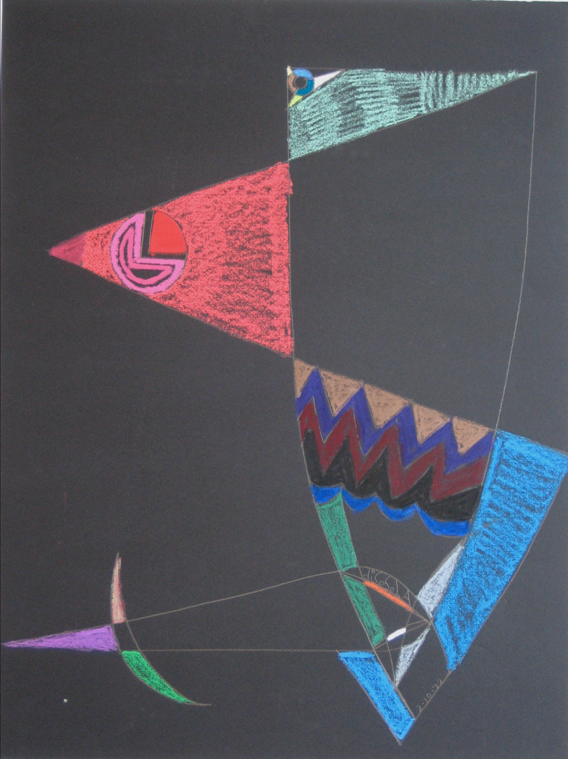 Colorful Abstract Pastel <br>1972 Graphite and Pastel <br><br>#17052