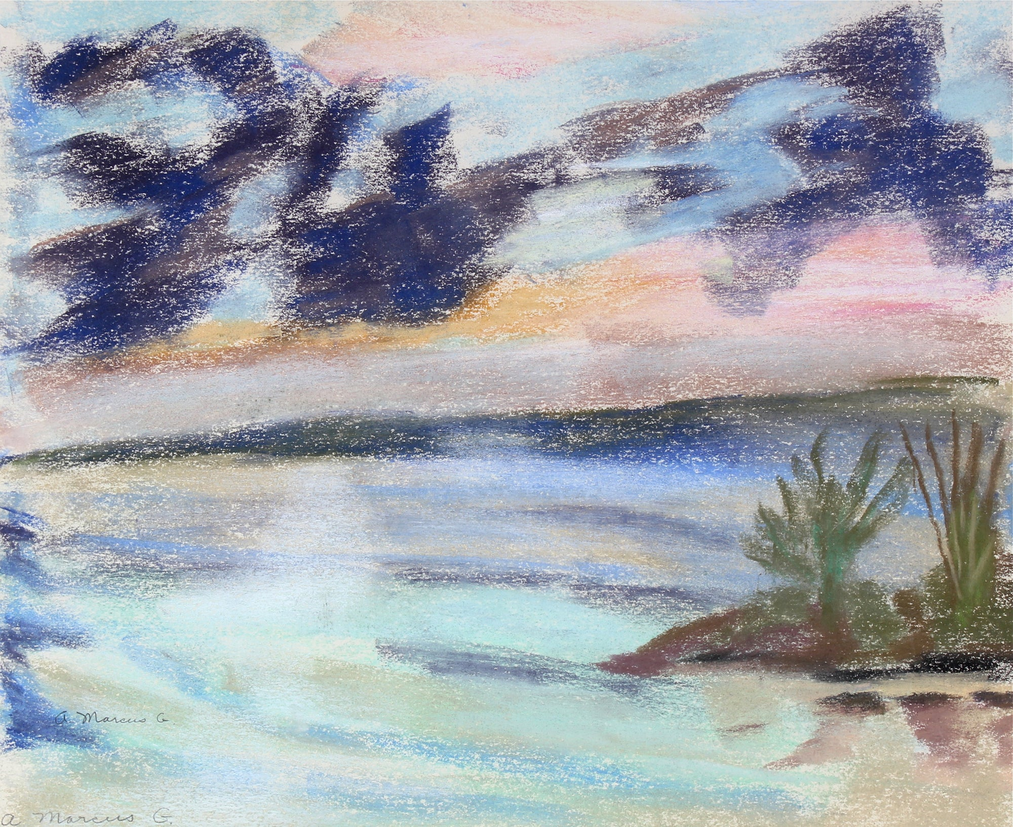 <i>Daybreak Over Bay</i><br>1962 Pastel Scene<br><br>#55034