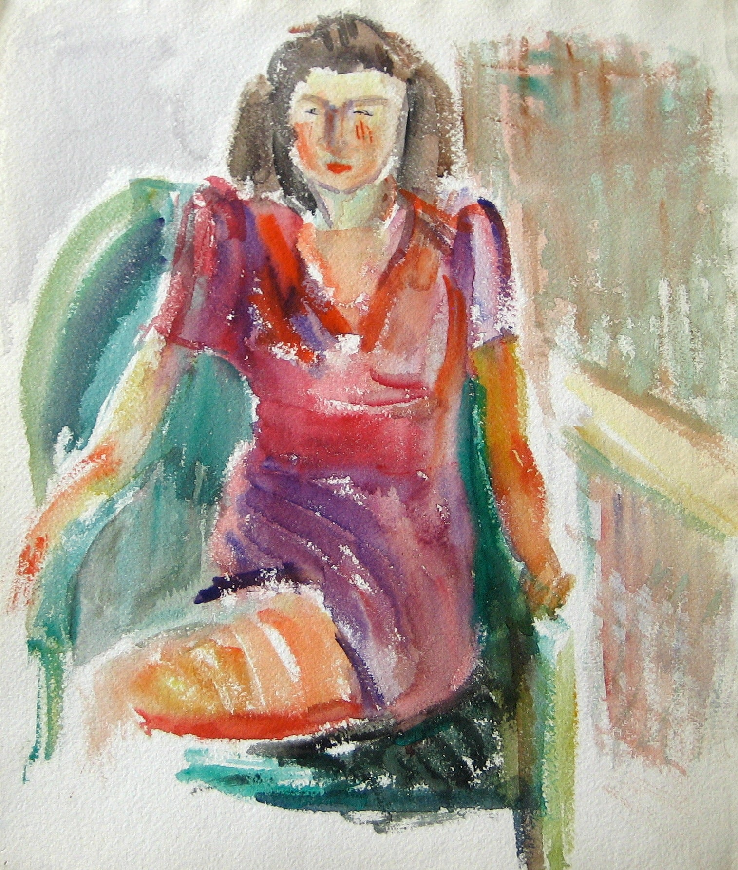 Expressive Seated Woman in Dress <br>Early-Mid 20th Century Watercolor<br><br>#13219