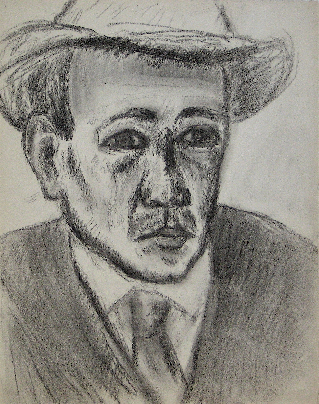 Self Portrait of the Artist<br>Early 20th Century Charcoal<br><br>#11291