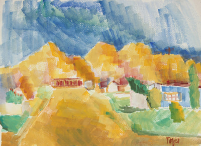 Expressive Landscape with Mountains<br>Early-Mid 20th Century Watercolor<br><br>#13241