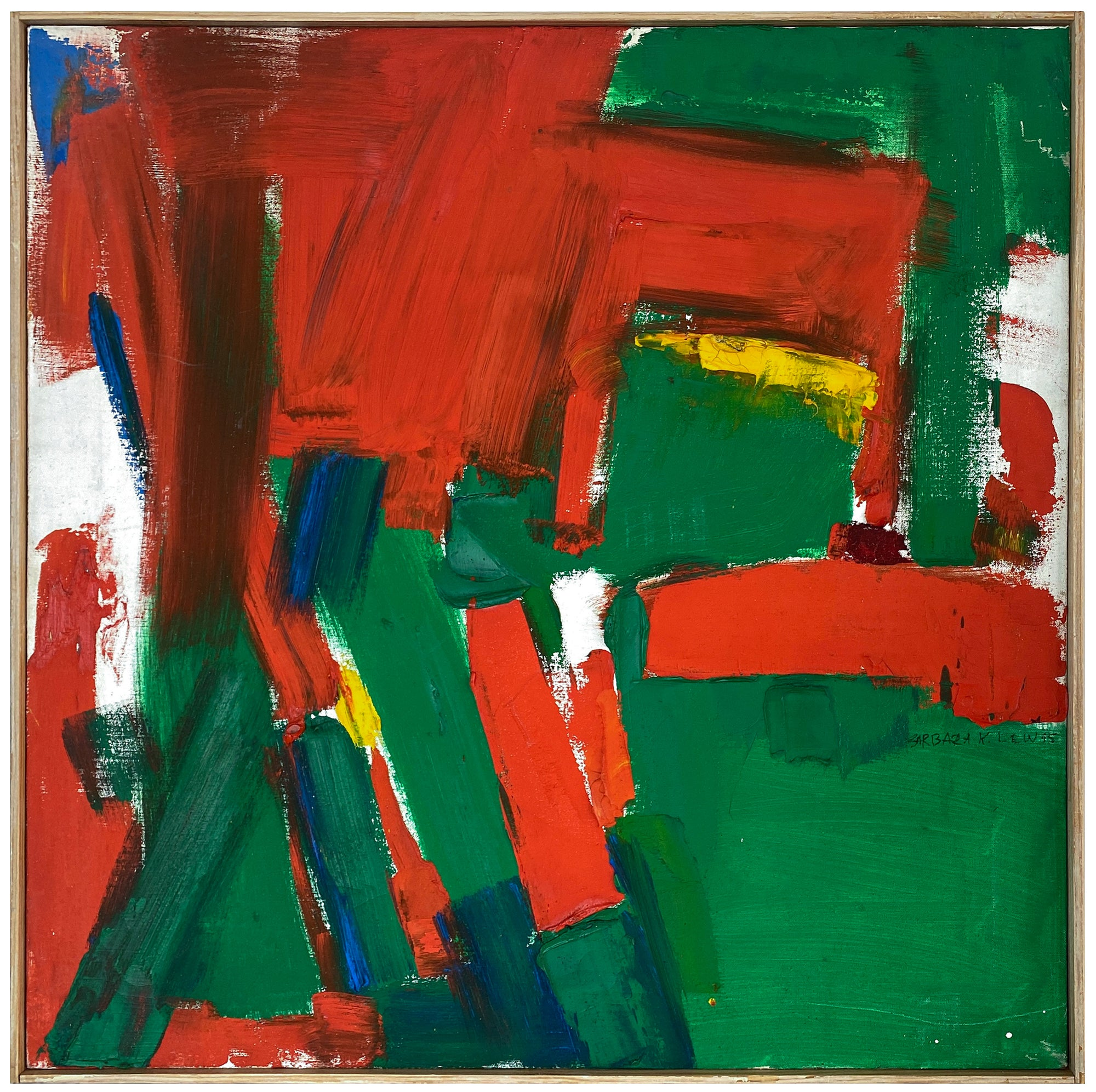 <i>Green and Red with Yellow and Blue</i> <br>Mid Century Oil <br><br>#Z0003