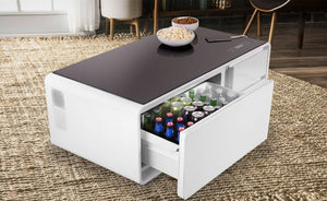LATEST TABLE TECHNOLOGY: Sobro Coffee Table With A Built-In Fridge And Bluetooth Speakers