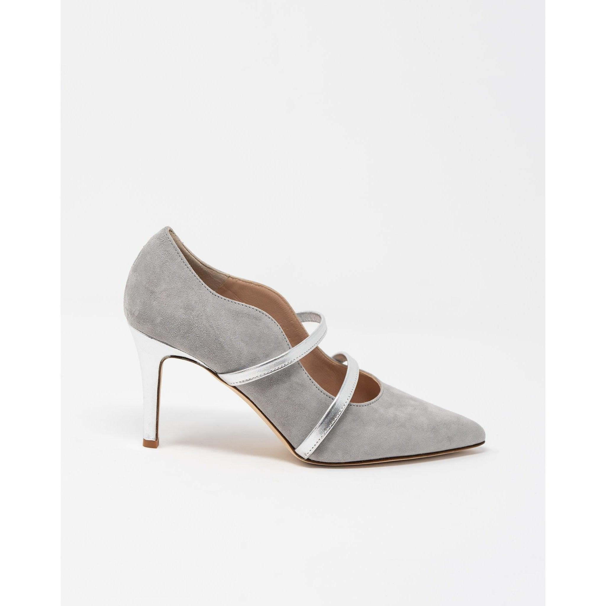 Women's Scallop-Trim Leather Pumps in Grey