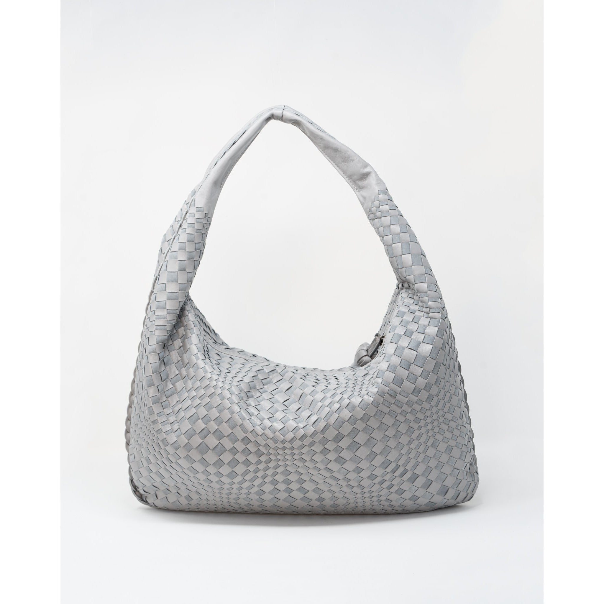 Brigitte Is Women Intrecciato Hobo Bag in Light Grey - Jennifer Tattanelli