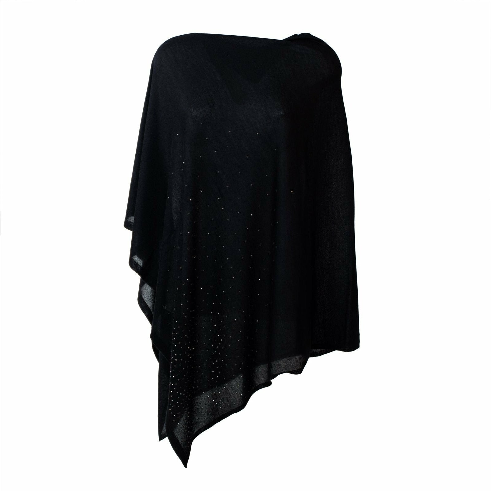 Large Pashmina Poncho With Studs in Black - Jennifer Tattanelli