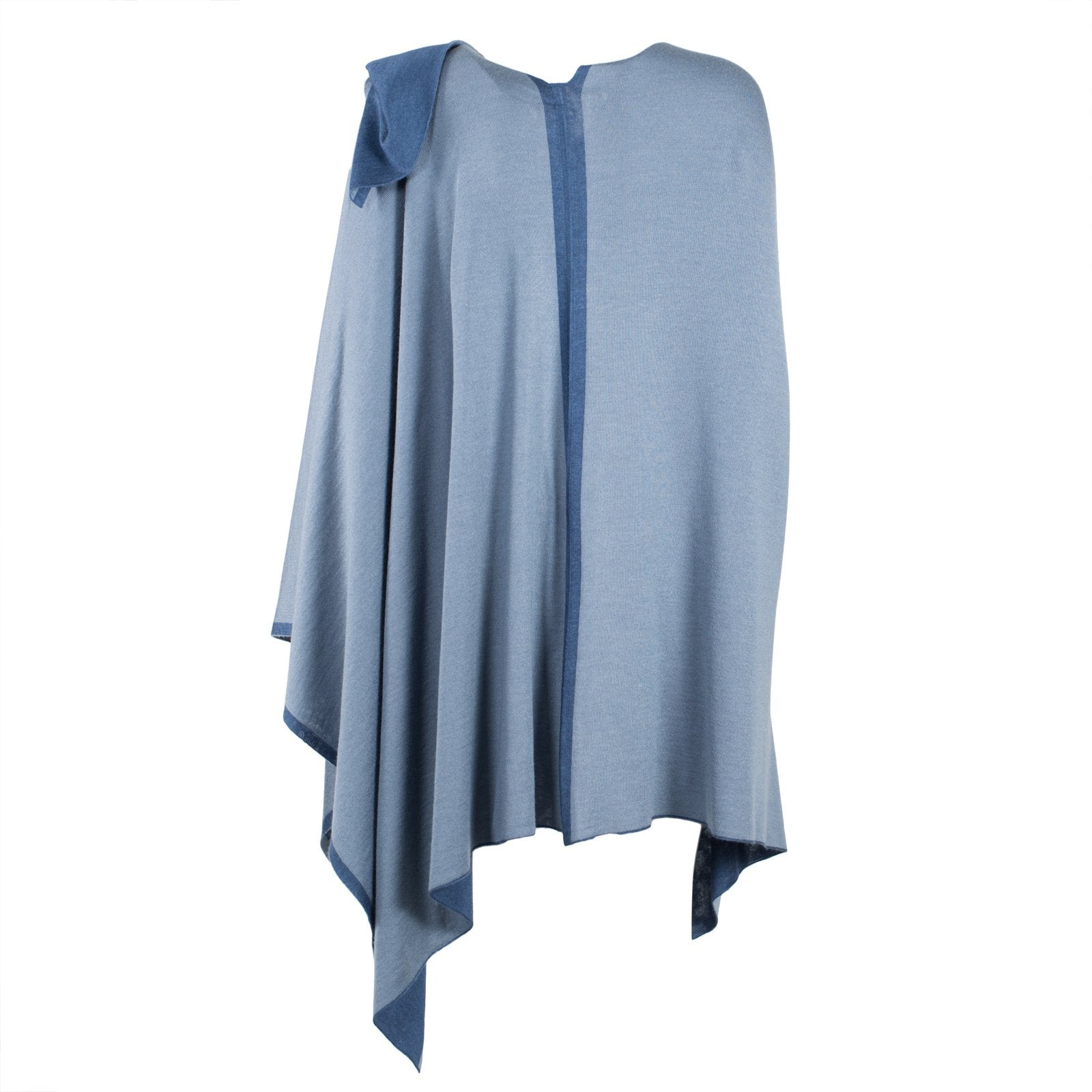 Large Reversible Pashmina Cape in Blues - Jennifer Tattanelli