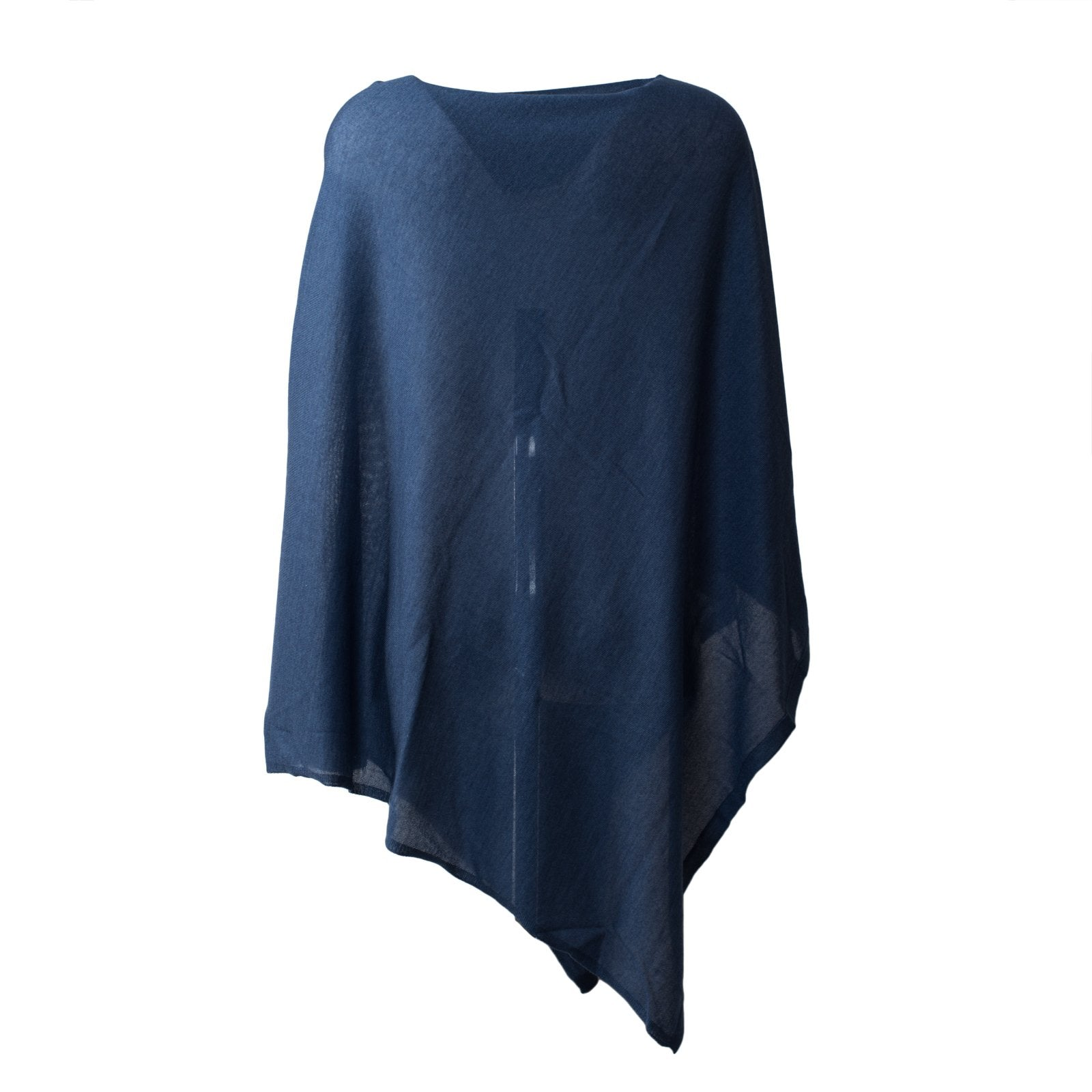 Large Pashmina Poncho in Blue - Jennifer Tattanelli