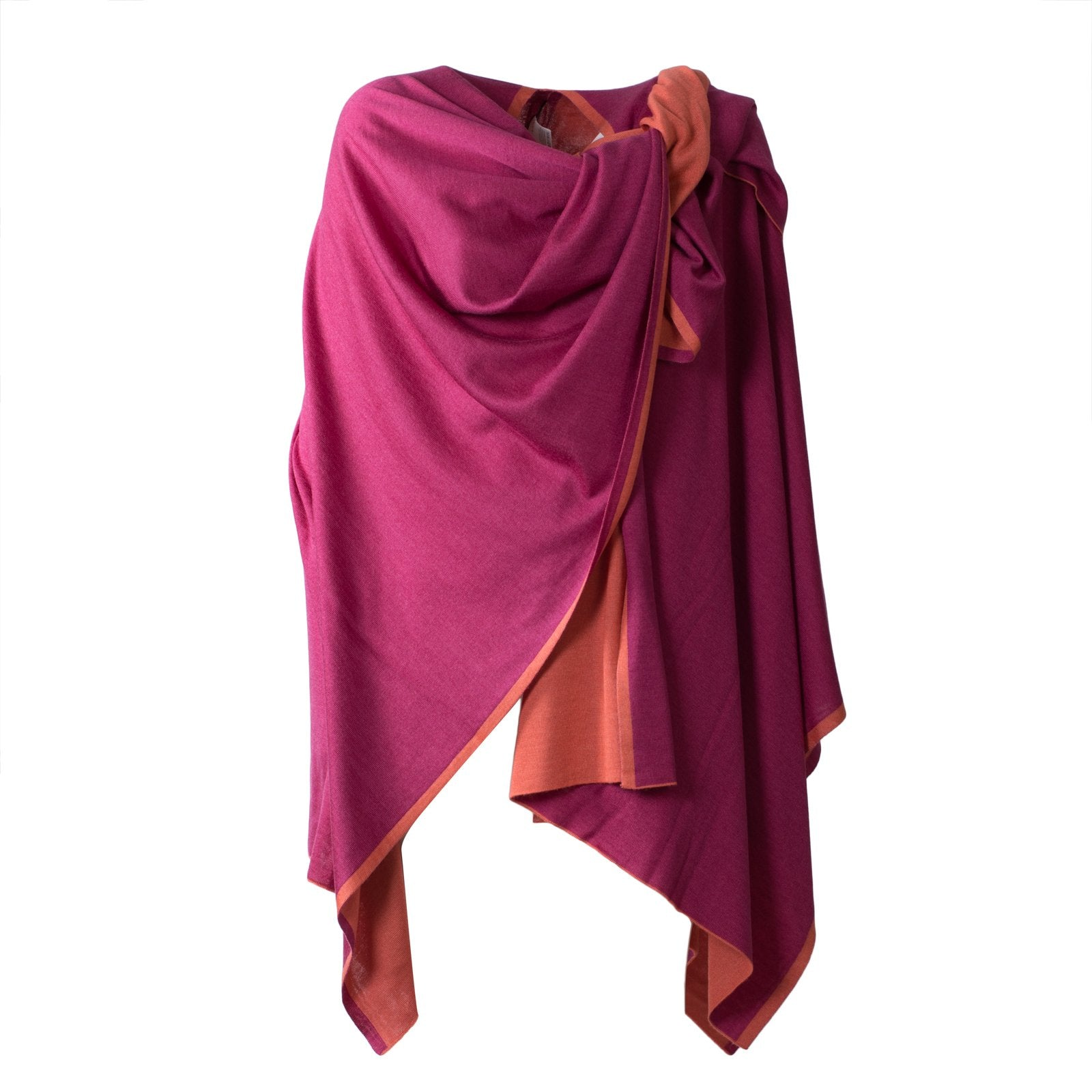 Large Reversible Pashmina Cape in Cherry and Coral - Jennifer Tattanelli