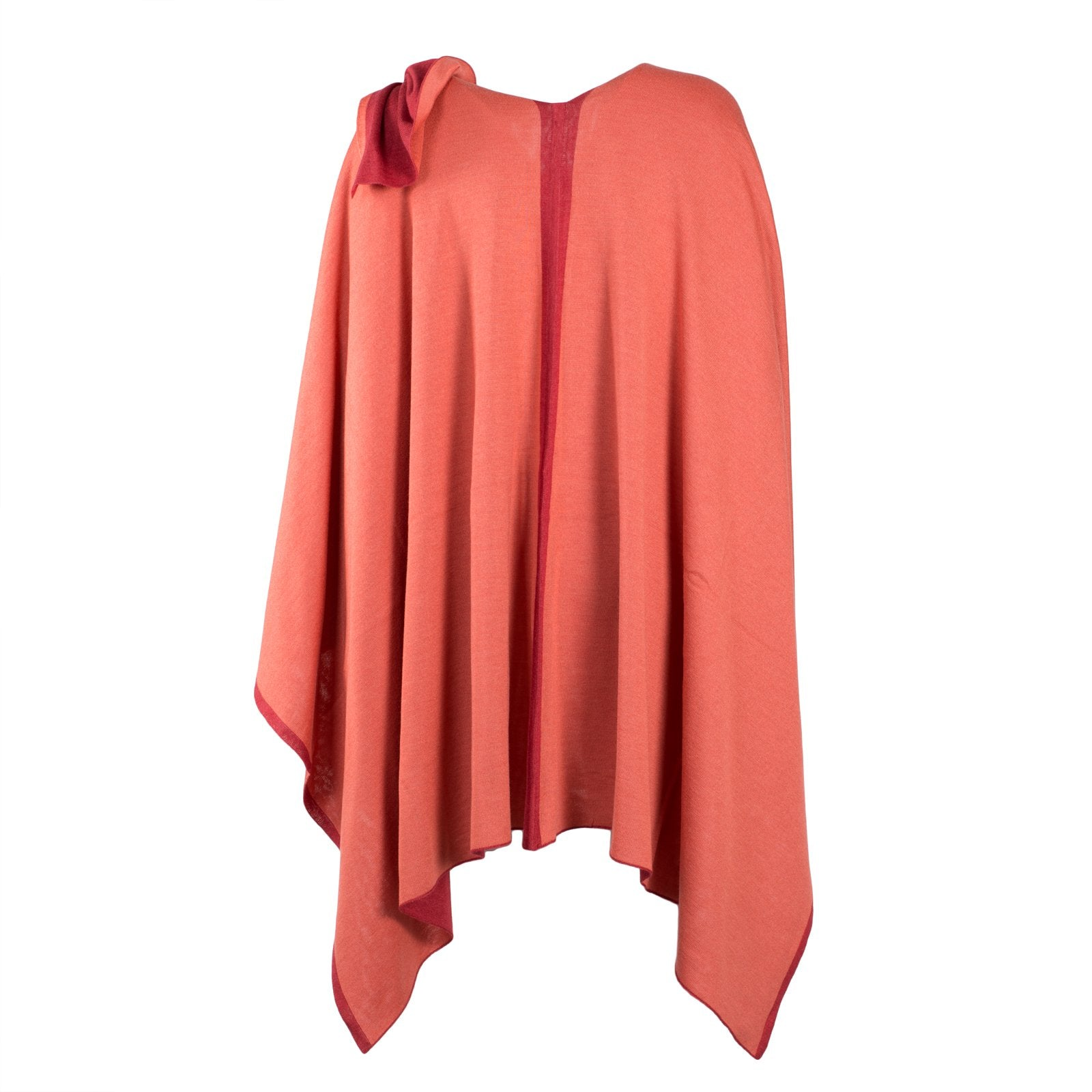 Large Reversible Pashmina Cape in Red and Coral - Jennifer Tattanelli