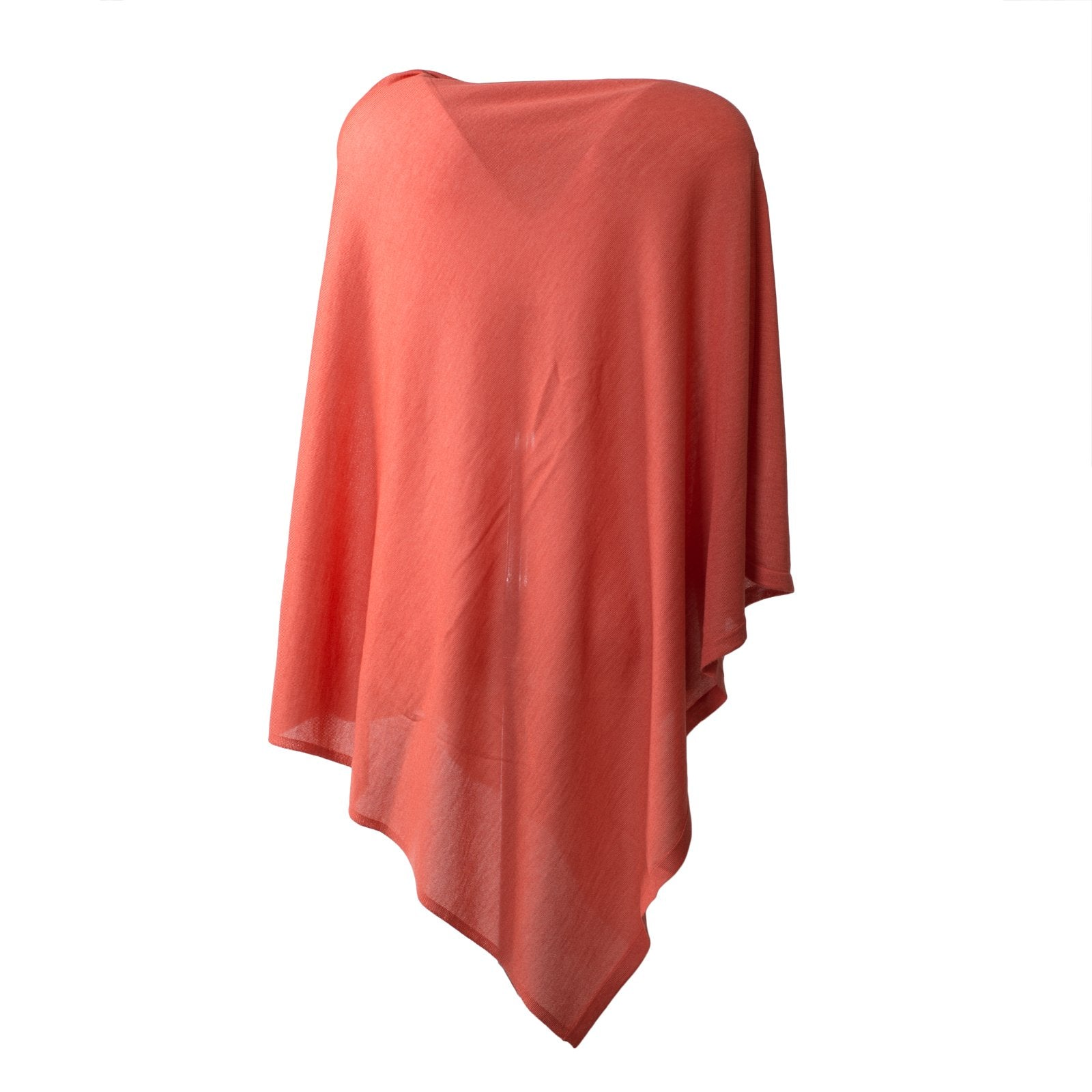 Large Pashmina Poncho in Coral - Jennifer Tattanelli