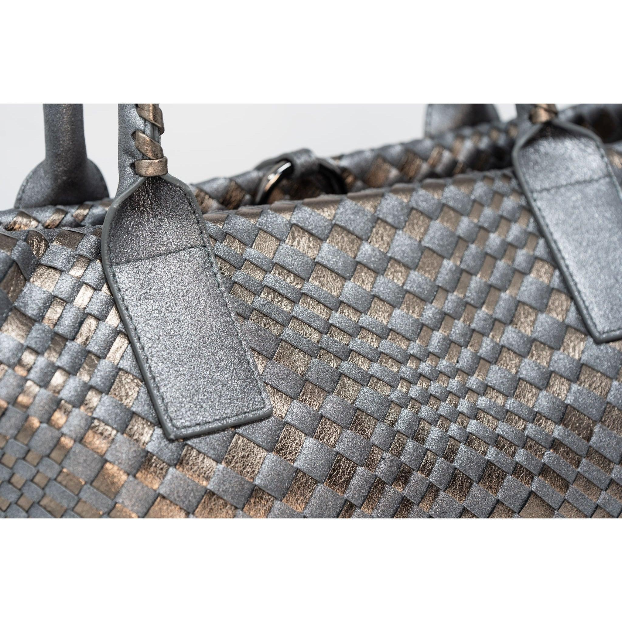 Sophia Is Petite Intrecciato Zippered Shopping Bag in Gun Metal