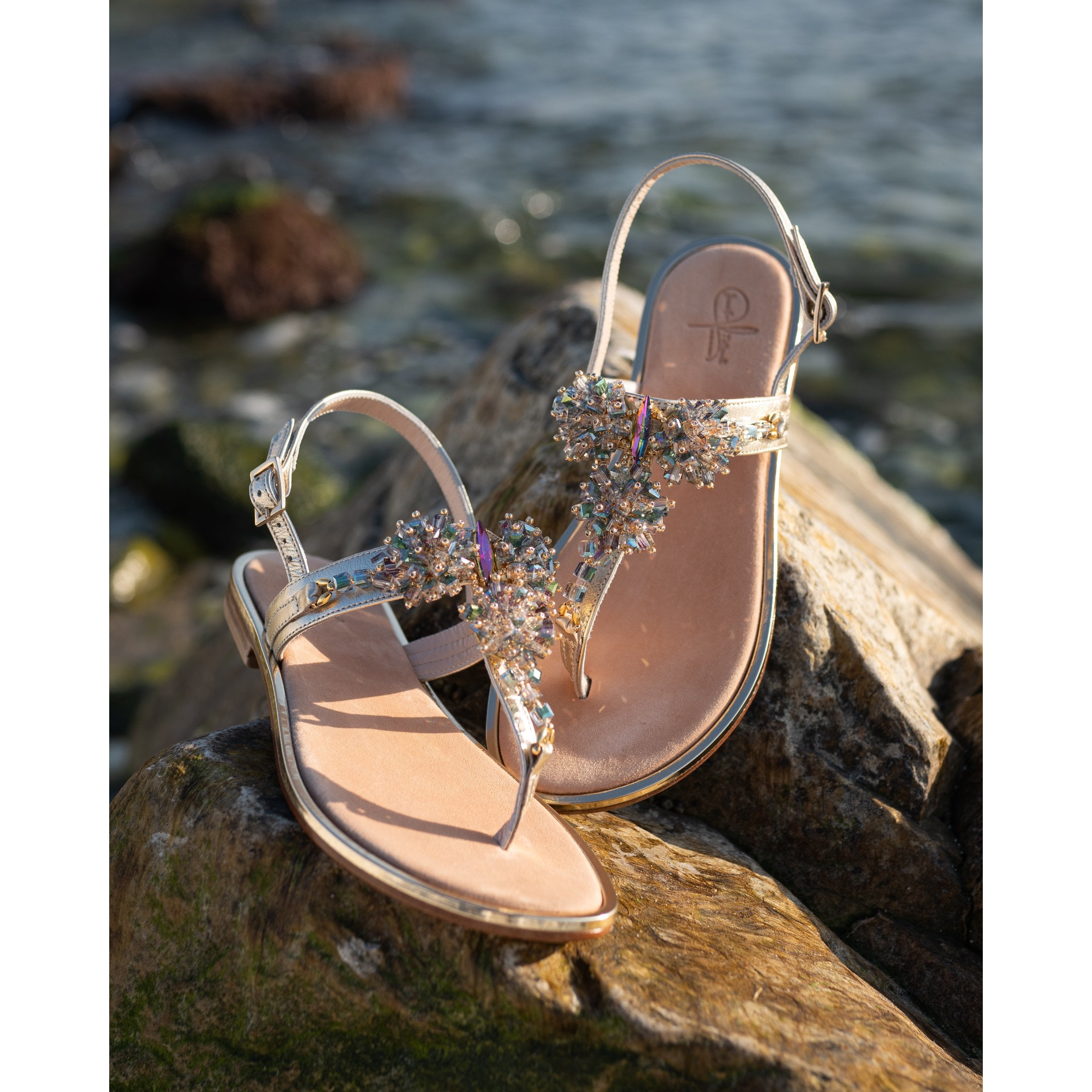 Women Bedazzled Sandals in Platinum - Jennifer Tattanelli