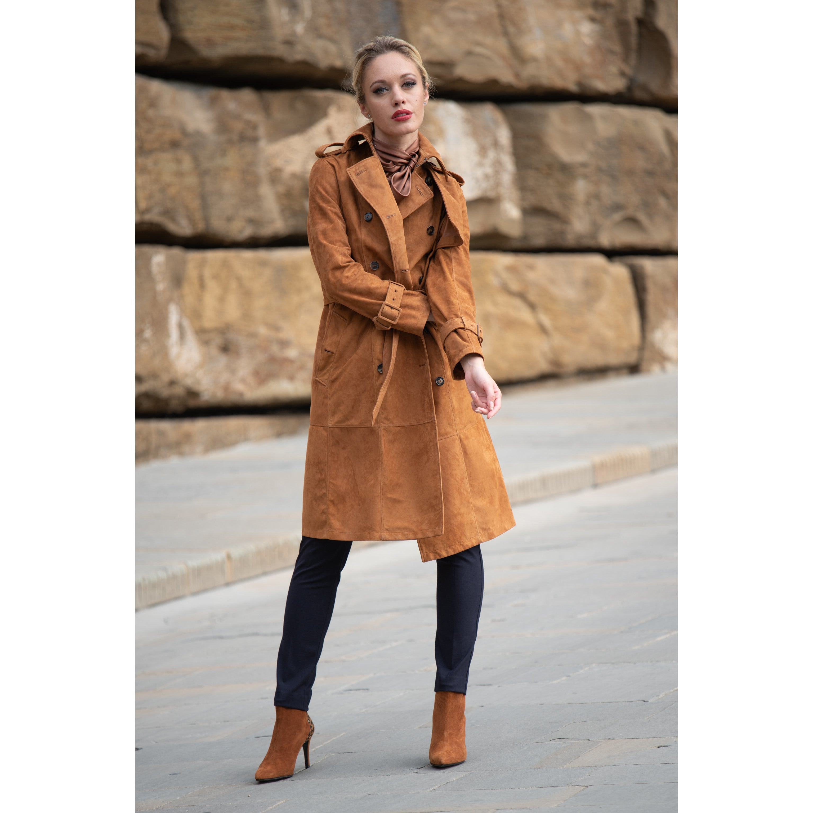 Women Suede Leather Trench in Cuoio - Jennifer Tattanelli