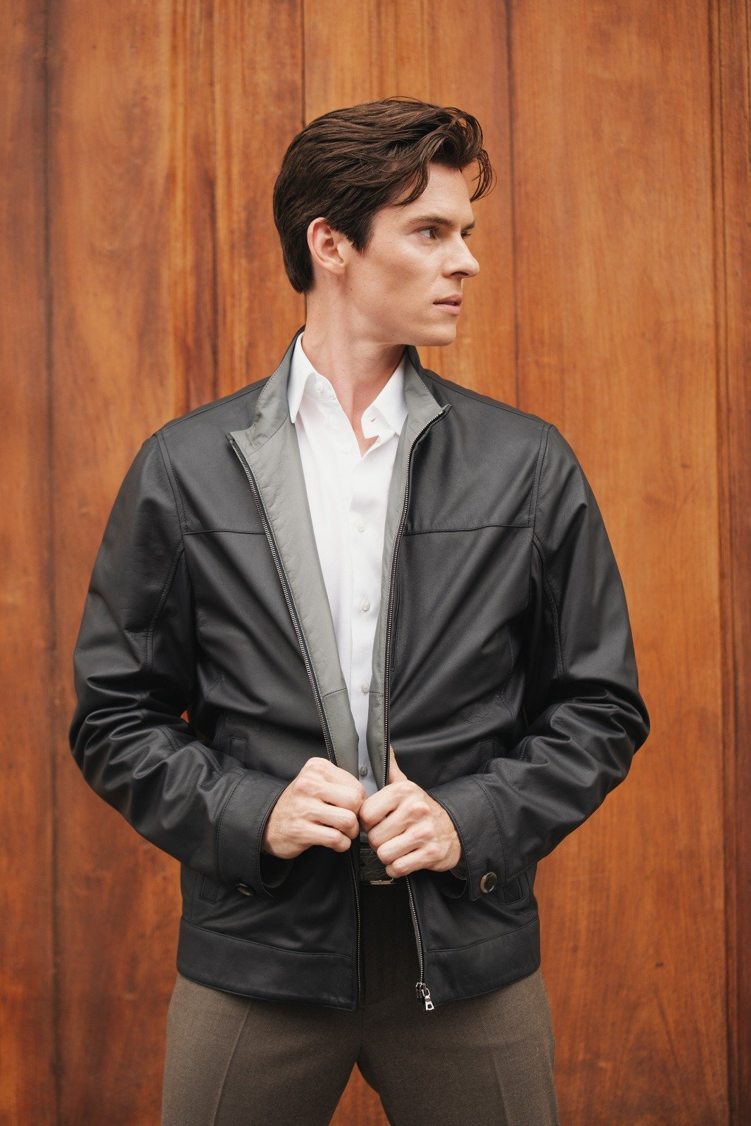 Men Nappa Reversible Leather Bomber - Jennifer Tattanelli