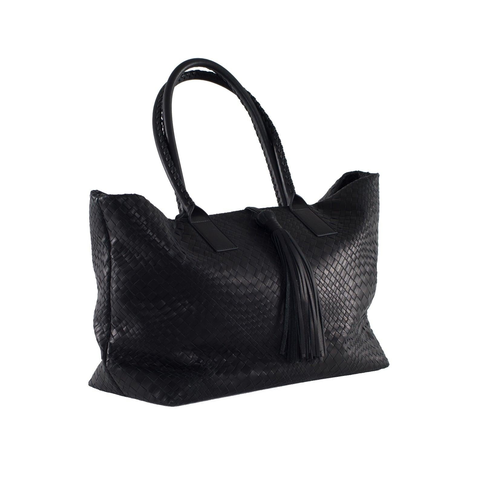 Sophia Maxi Intrecciato Shopping Bag in Black