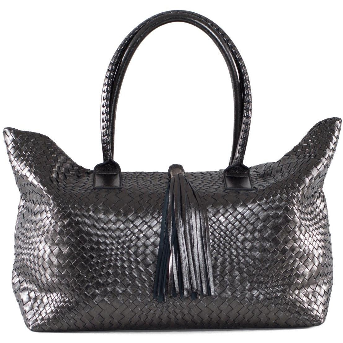Sophia Maxi Intrecciato Shopping Bag in Gun Metal