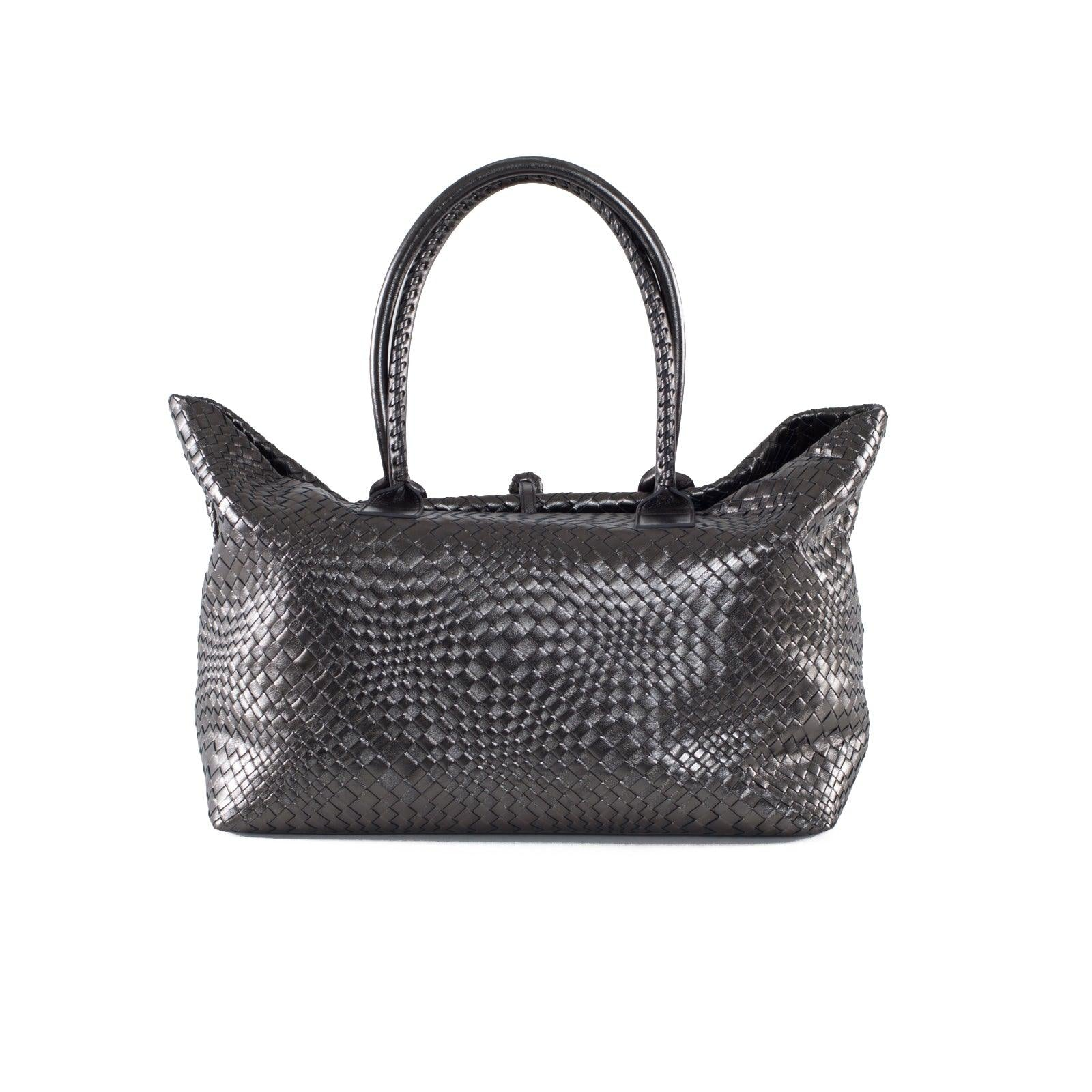 Sophia Maxi - Laminated Intrecciato Optical Leather Tote