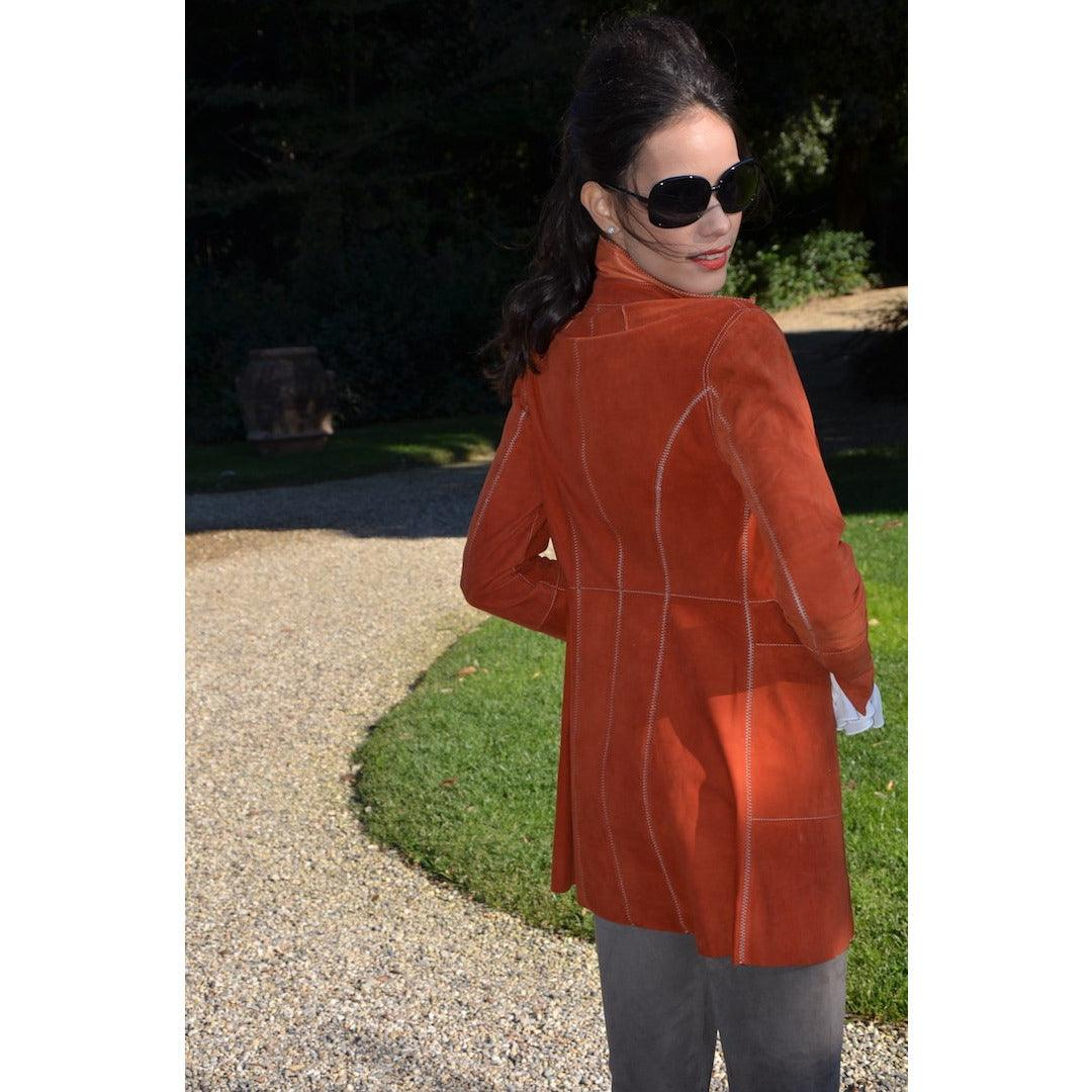 Jennifer Tattanelli crafted in Florence this women leather jackey that has a feminine enveloping cut and cozy lightness