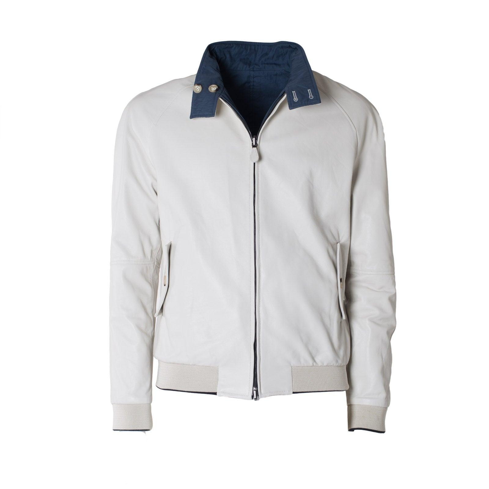 Jennifer Tattanelli crafted in Florence this men leather bomber, carefully designed, detailed and precise, this light weight reversible nappa leather and fabric  jacket is extremely soft