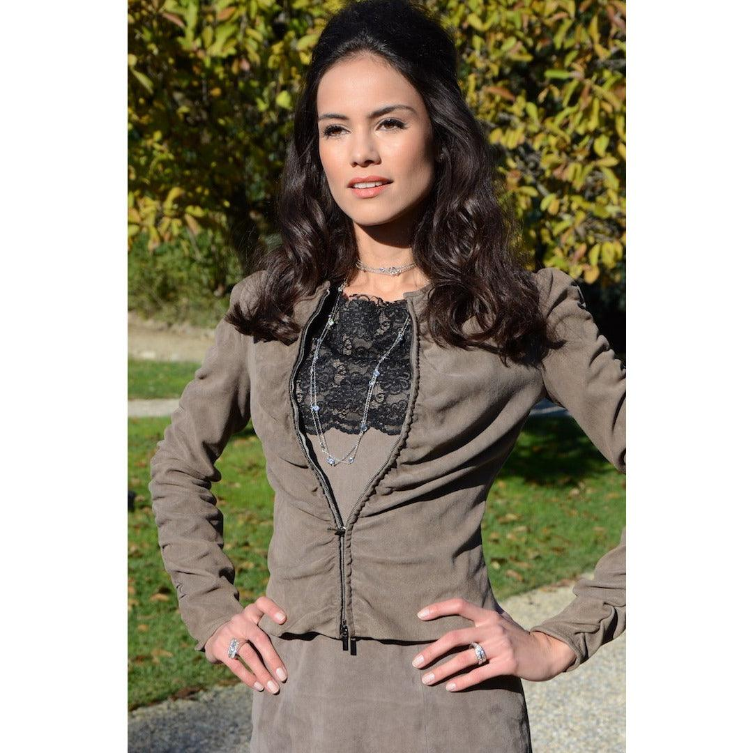 Jennifer Tattanelli crafted in Florence this Italian, exquisite, carefully designed women short stretch lamb skin leather jacket