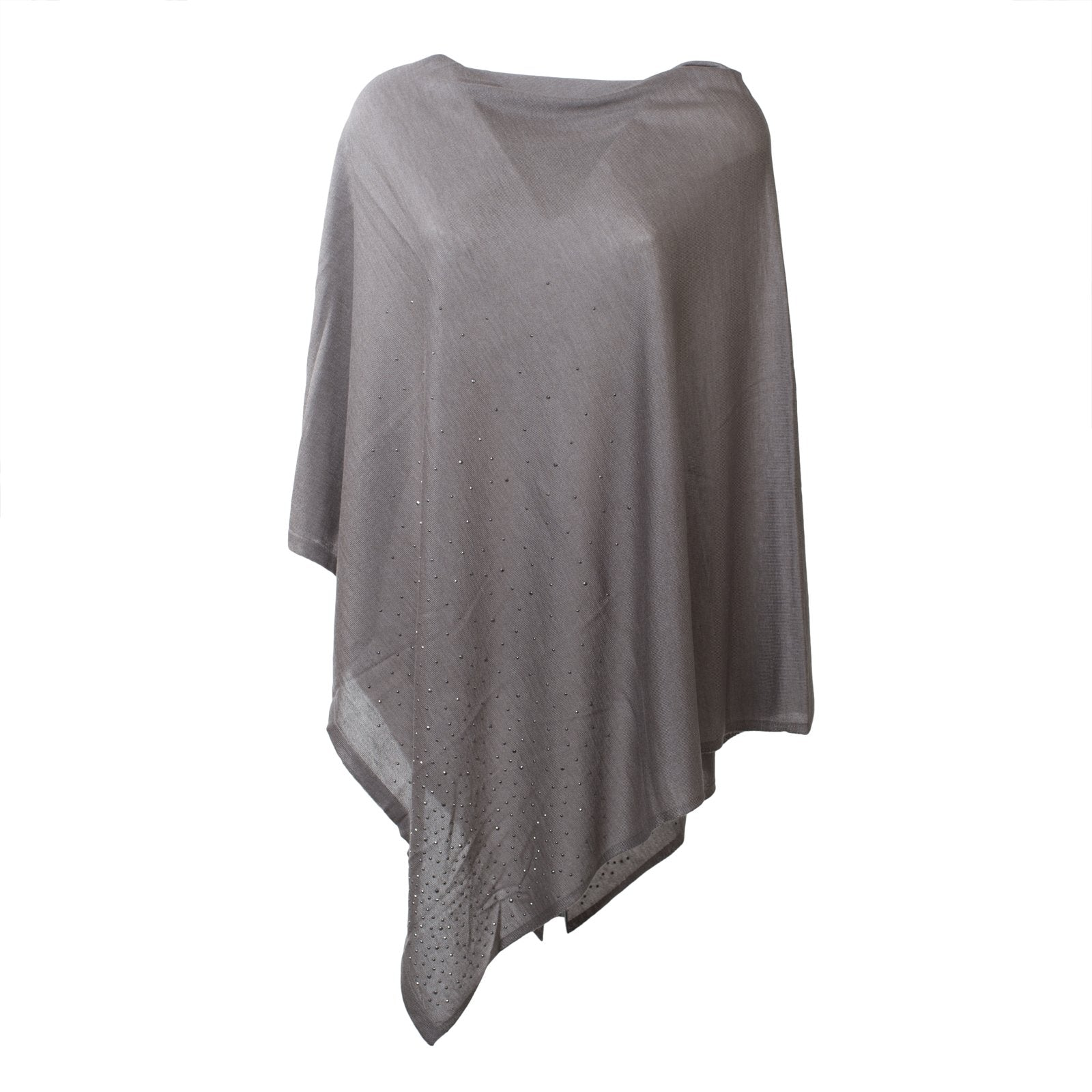 Large Pashmina Poncho With Studs in Light Grey - Jennifer Tattanelli