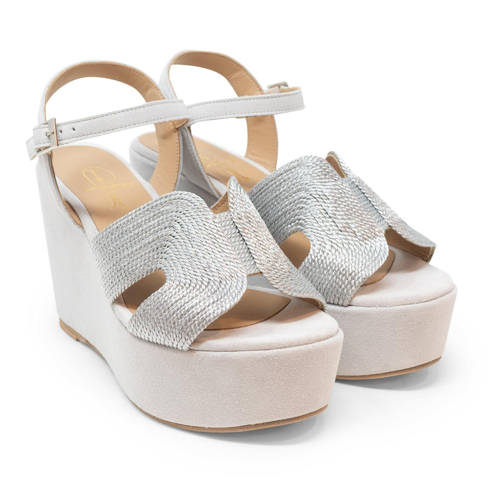 Women Suede Wedge Sandals in Pearl Grey