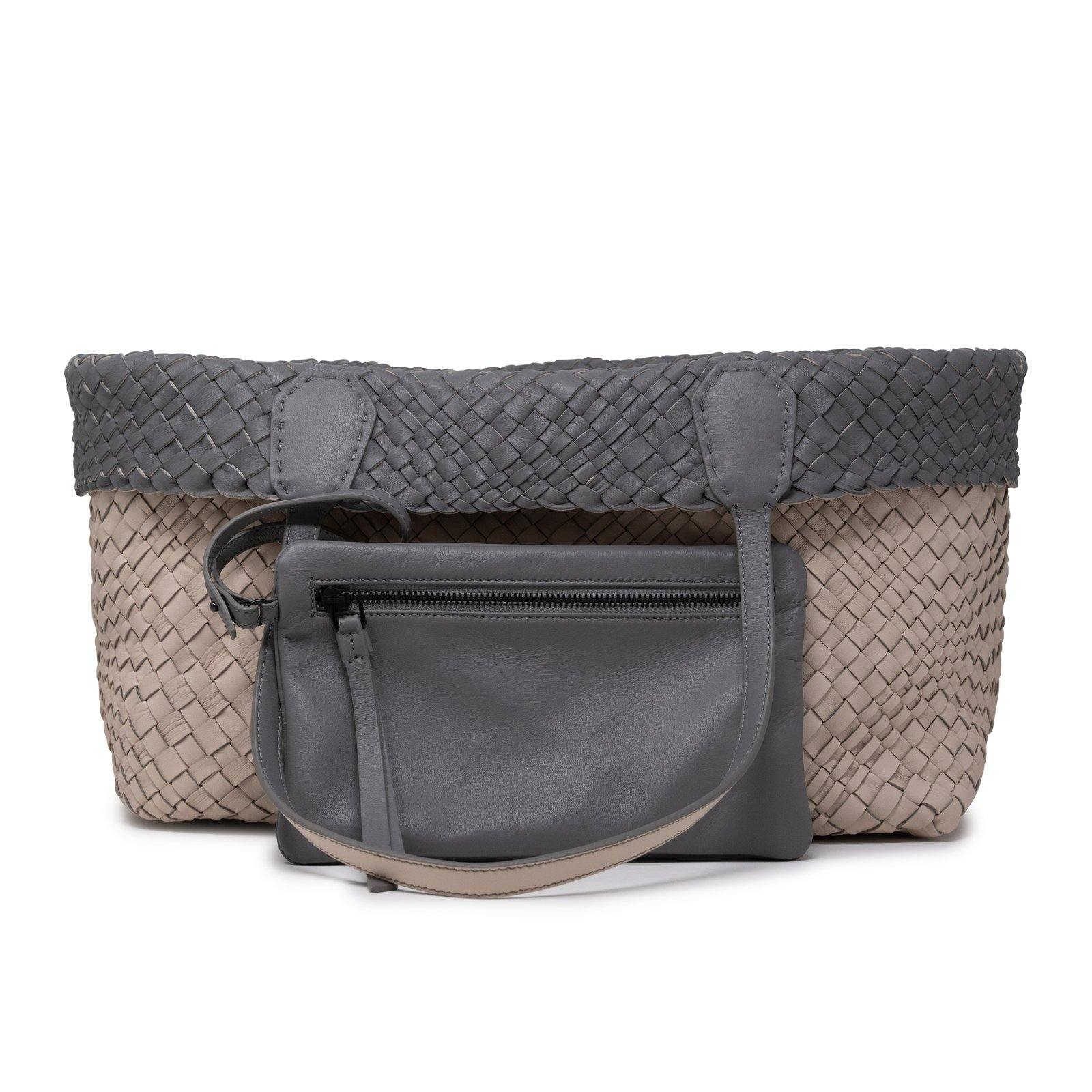 Women Leather Intreccio Optical Reversible Bag in Sabbia and Grey - Jennifer Tattanelli